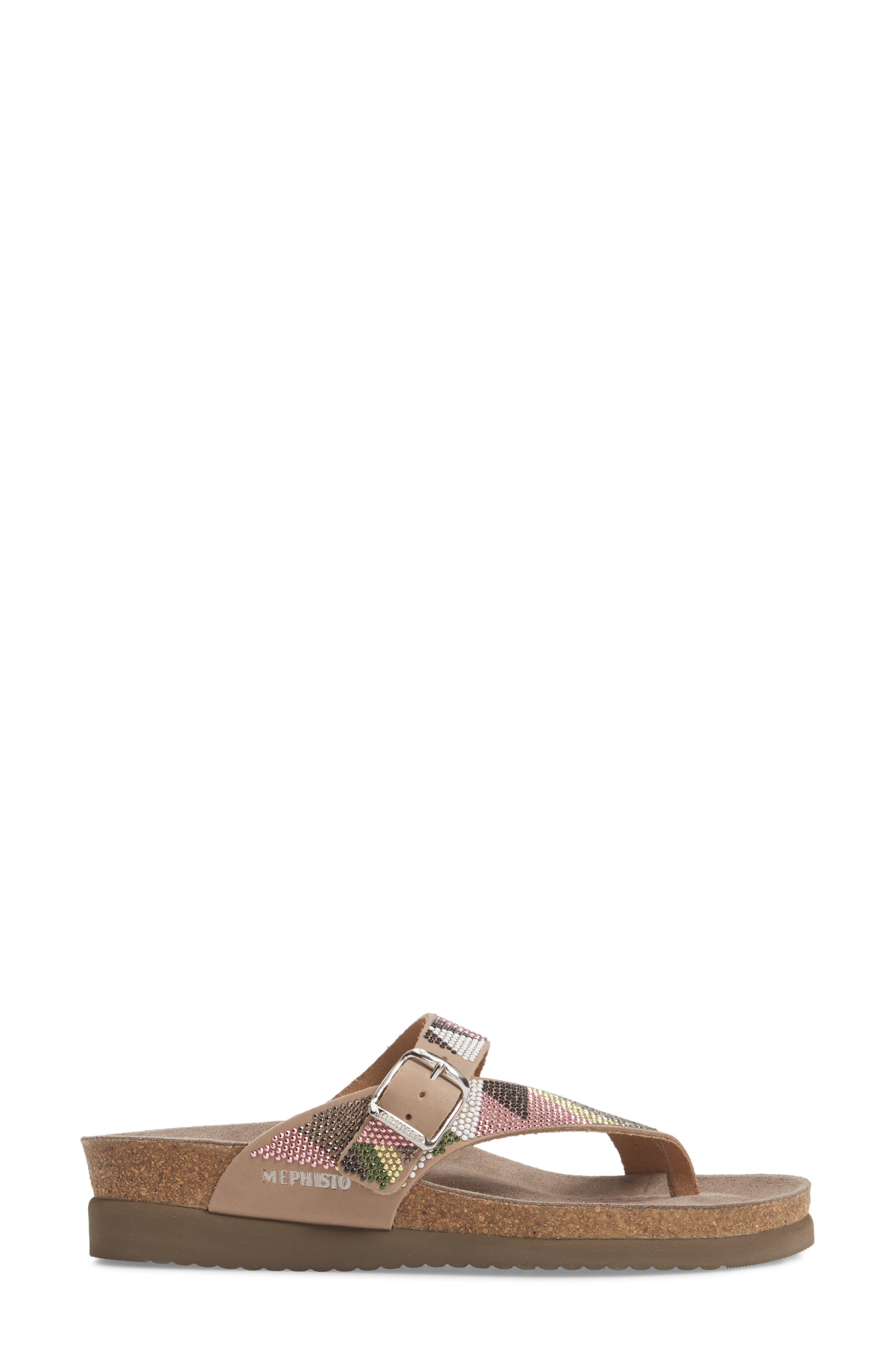 Helen Slide Sandal,                             Alternate thumbnail 3, color,                             Taupe/ Green/ Pink