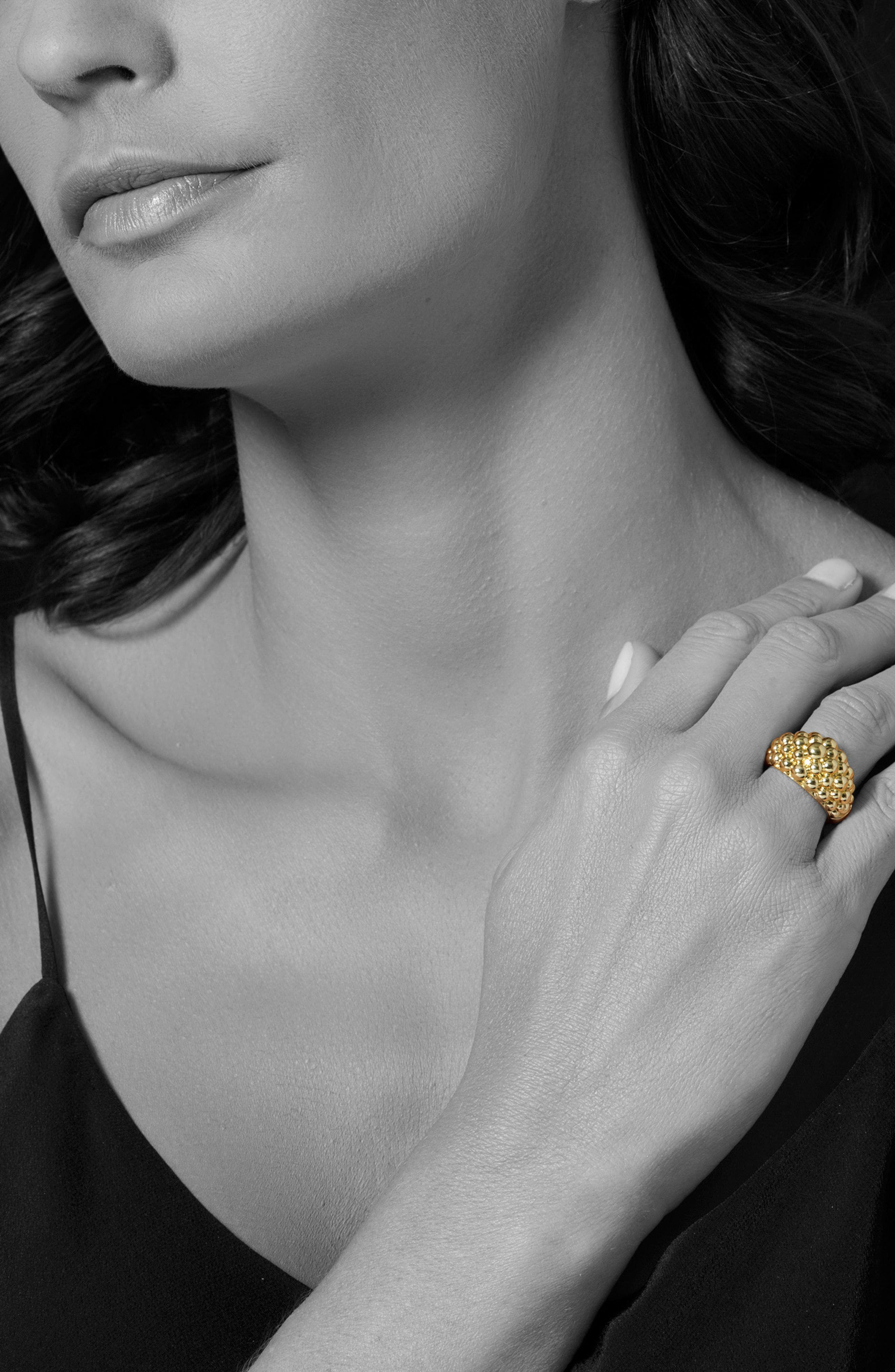 Caviar Gold Bold Dome Ring,                             Alternate thumbnail 2, color,                             Gold