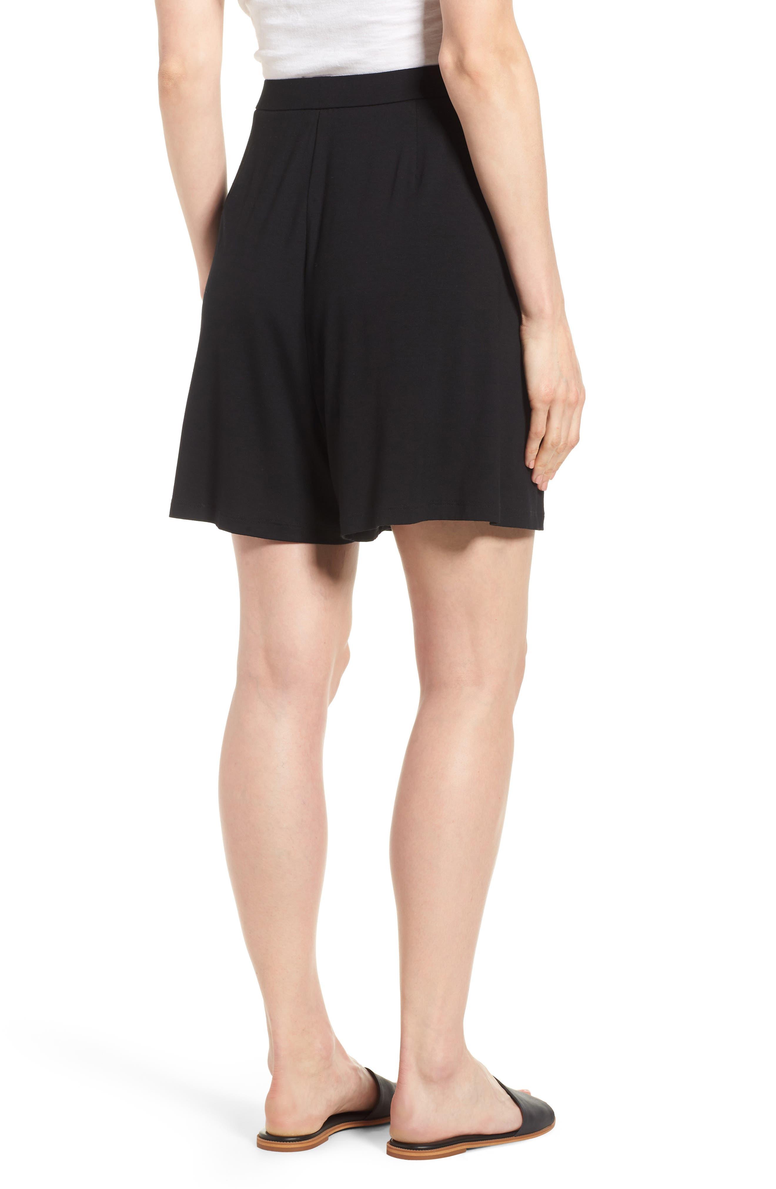 Pleated Jersey Walking Shorts,                             Alternate thumbnail 2, color,                             Black