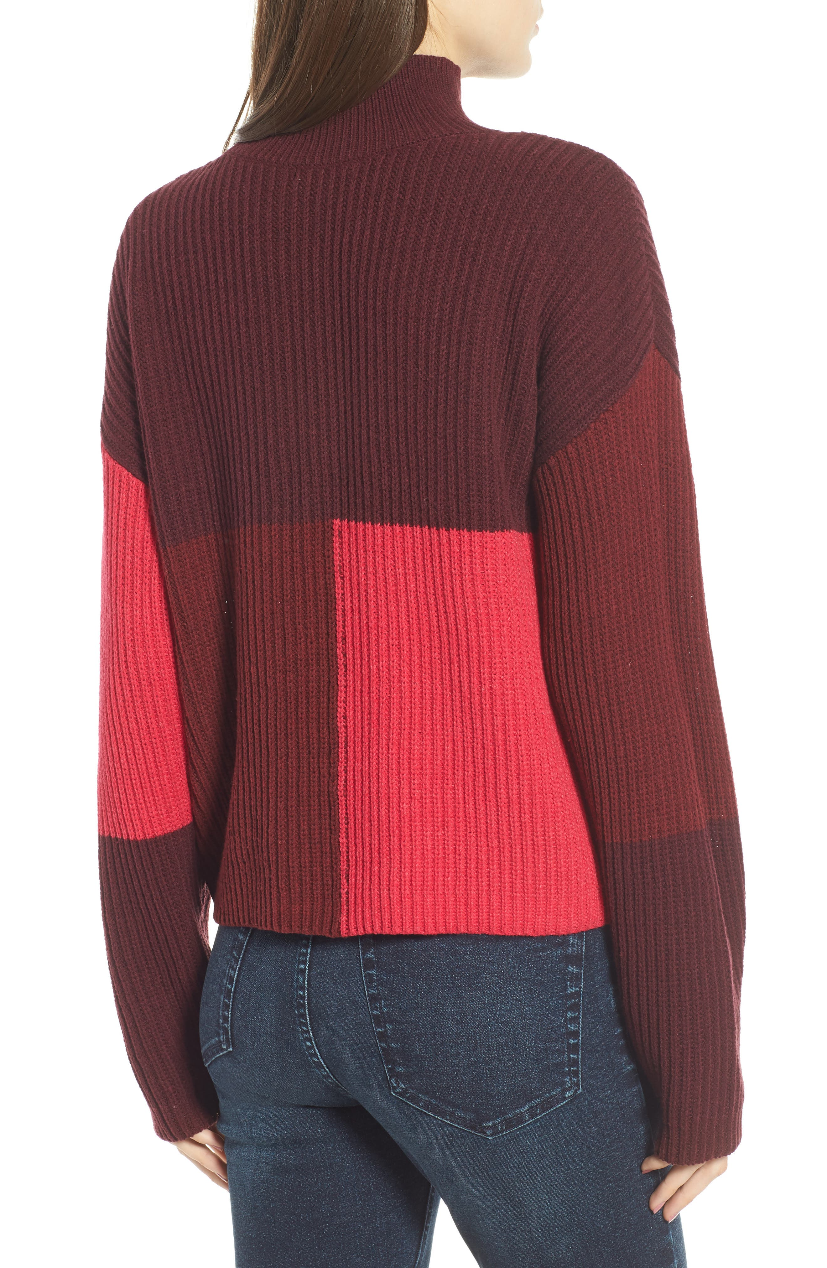Mock Neck Colorblock Sweater,                             Alternate thumbnail 2, color,                             Red Rumba Colorblock