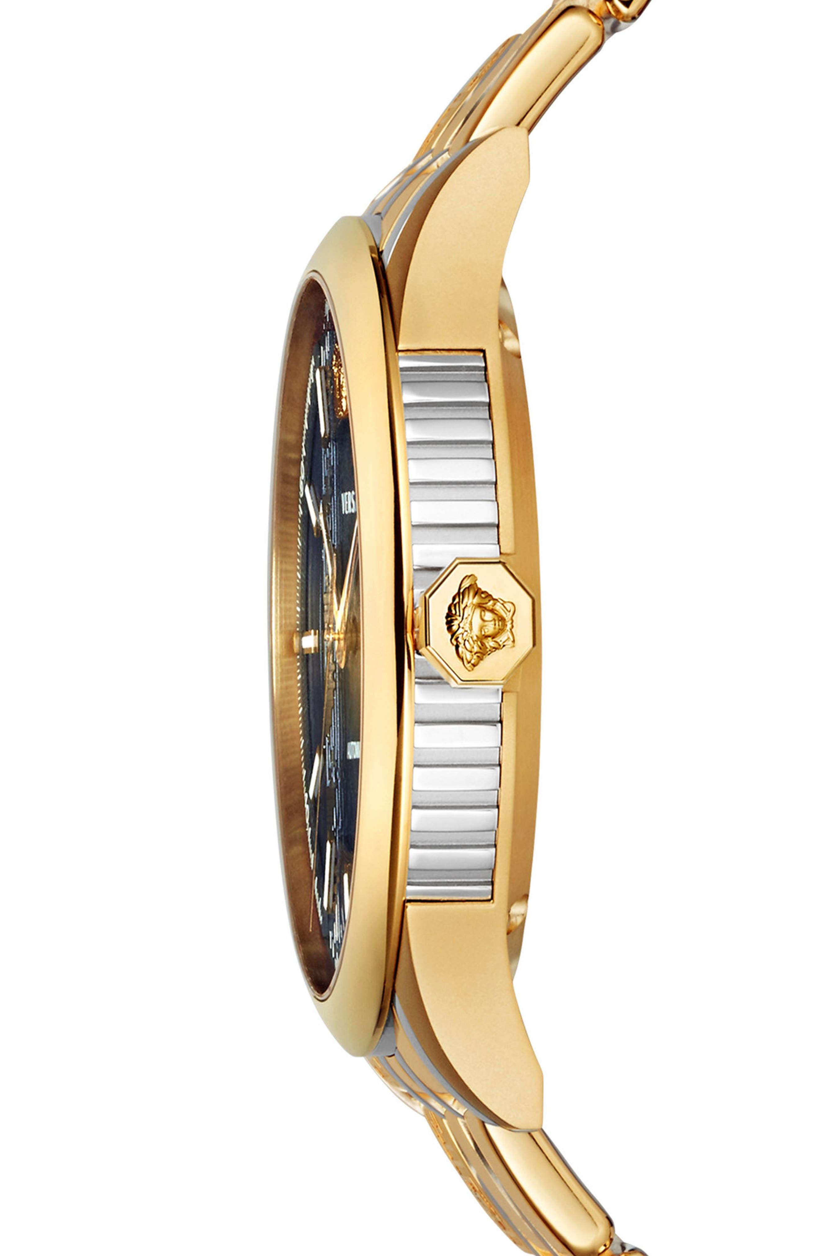 Aiakos Automatic Bracelet Watch, 44mm,                             Alternate thumbnail 3, color,                             Gold/ Blue/ Gold