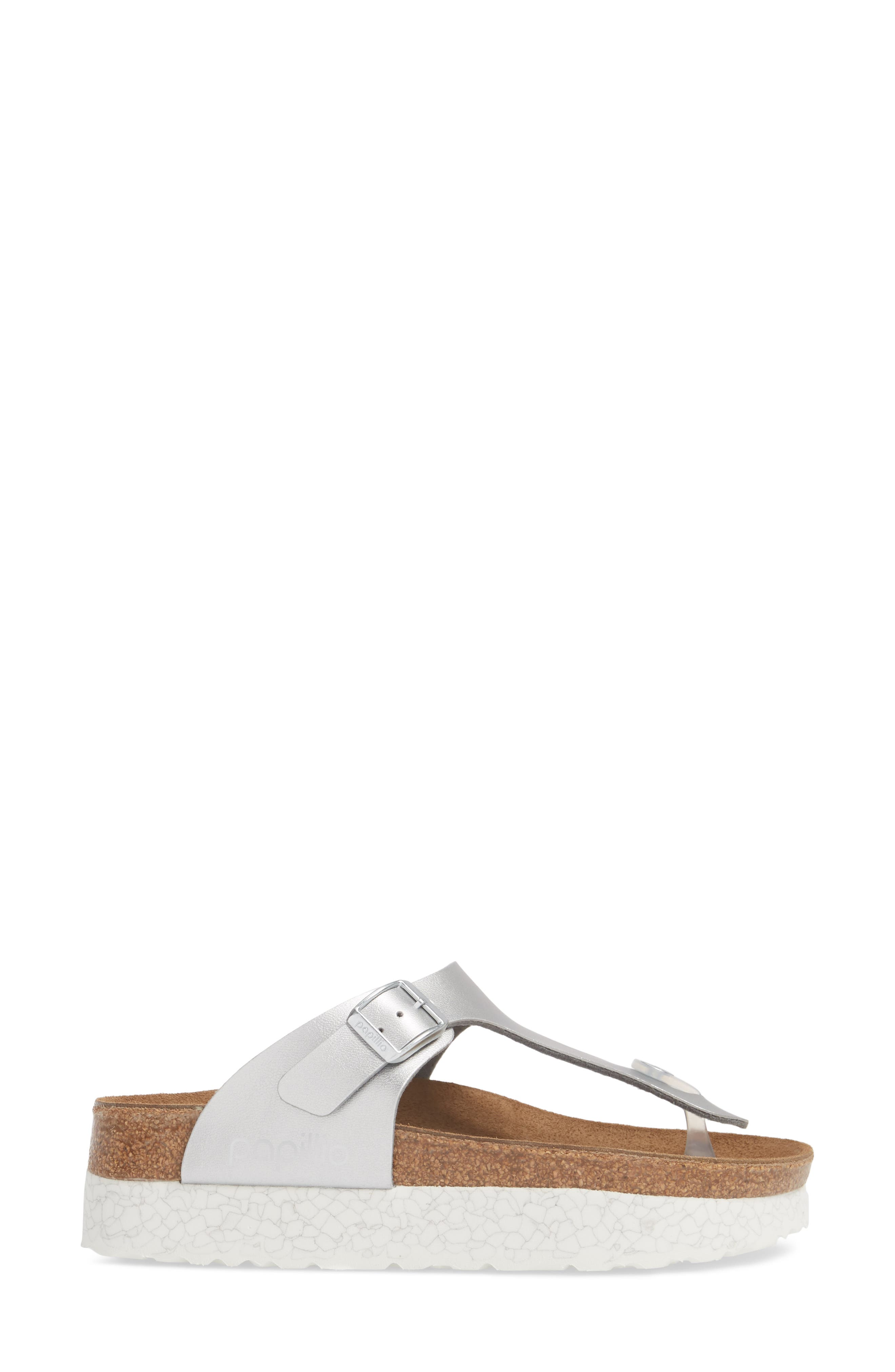 Papillio by Birkenstock 'Gizeh' Birko-Flor Platform Flip Flop Sandal,                             Alternate thumbnail 3, color,                             Mono Marble Silver Leather