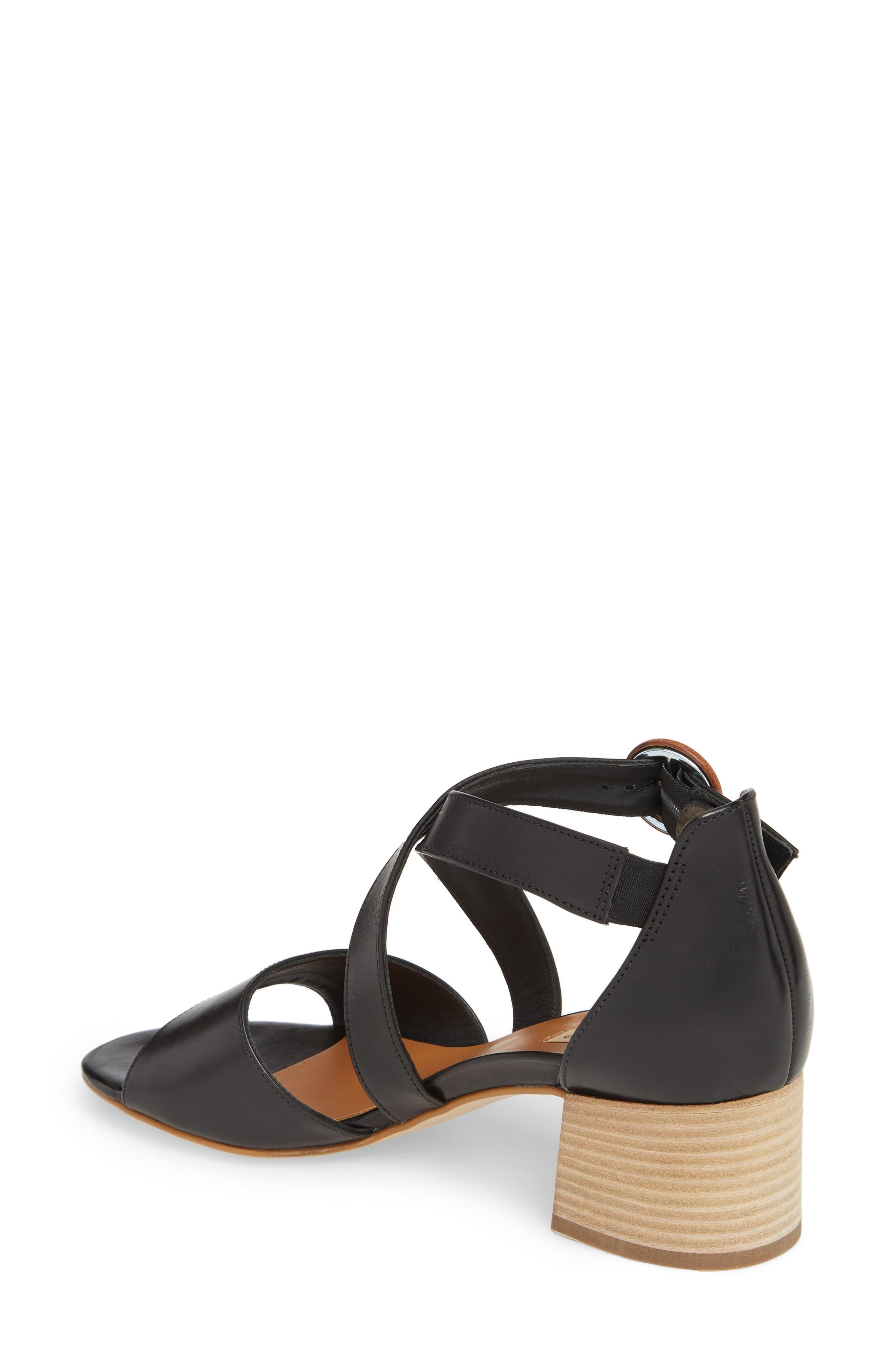 Sally Quarter Strap Sandal,                             Alternate thumbnail 2, color,                             Black Leather