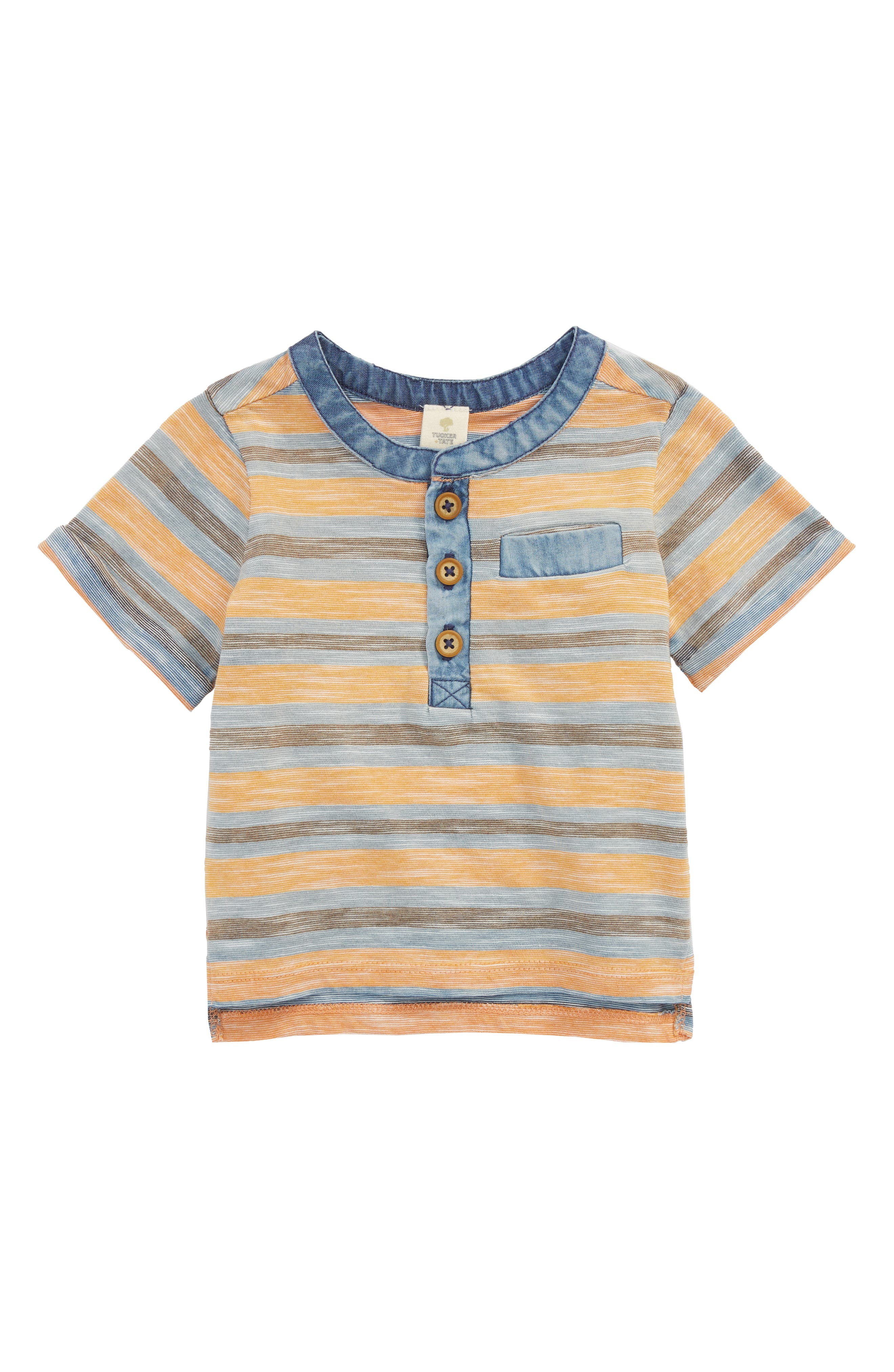 Reverse Stripe Henley,                         Main,                         color, Orange Glaze- Blue Stripe
