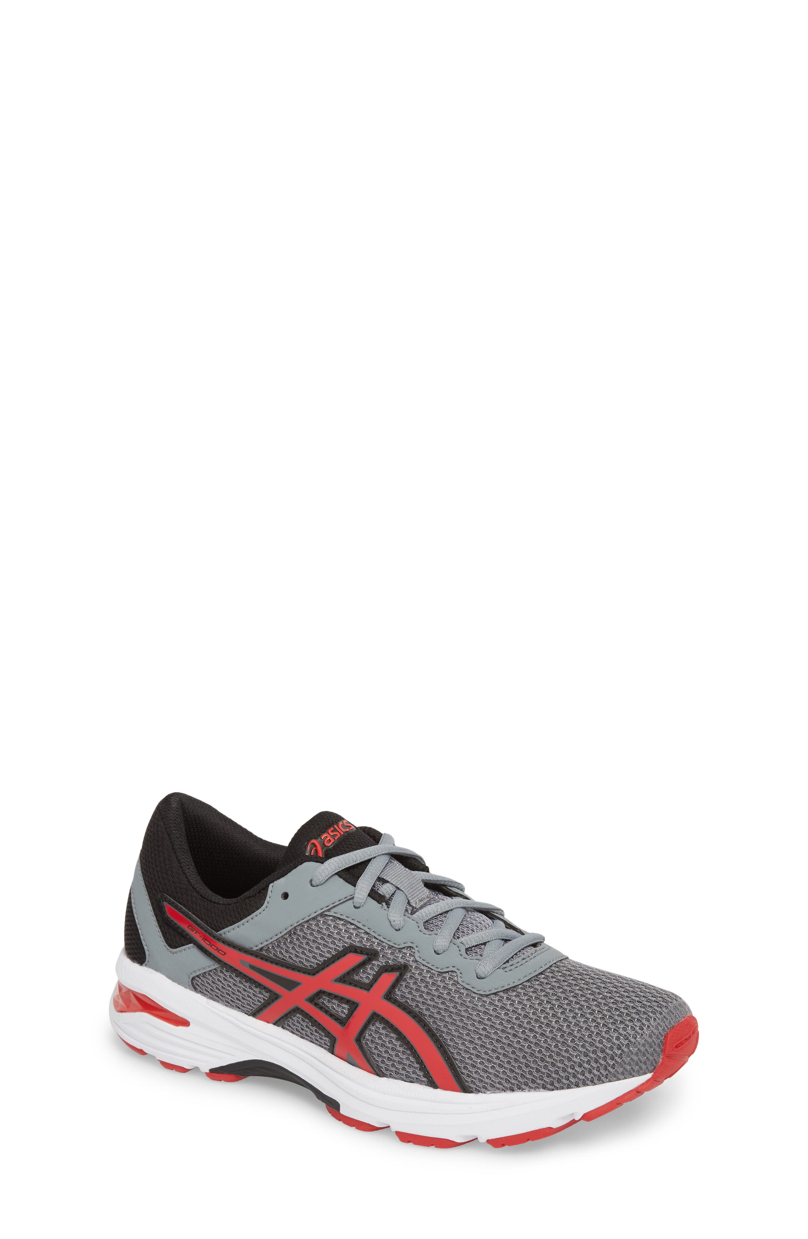 Asics GT-1000<sup>™</sup> 6 GS Sneaker,                         Main,                         color, Stone Grey/ Classic Red/ Black