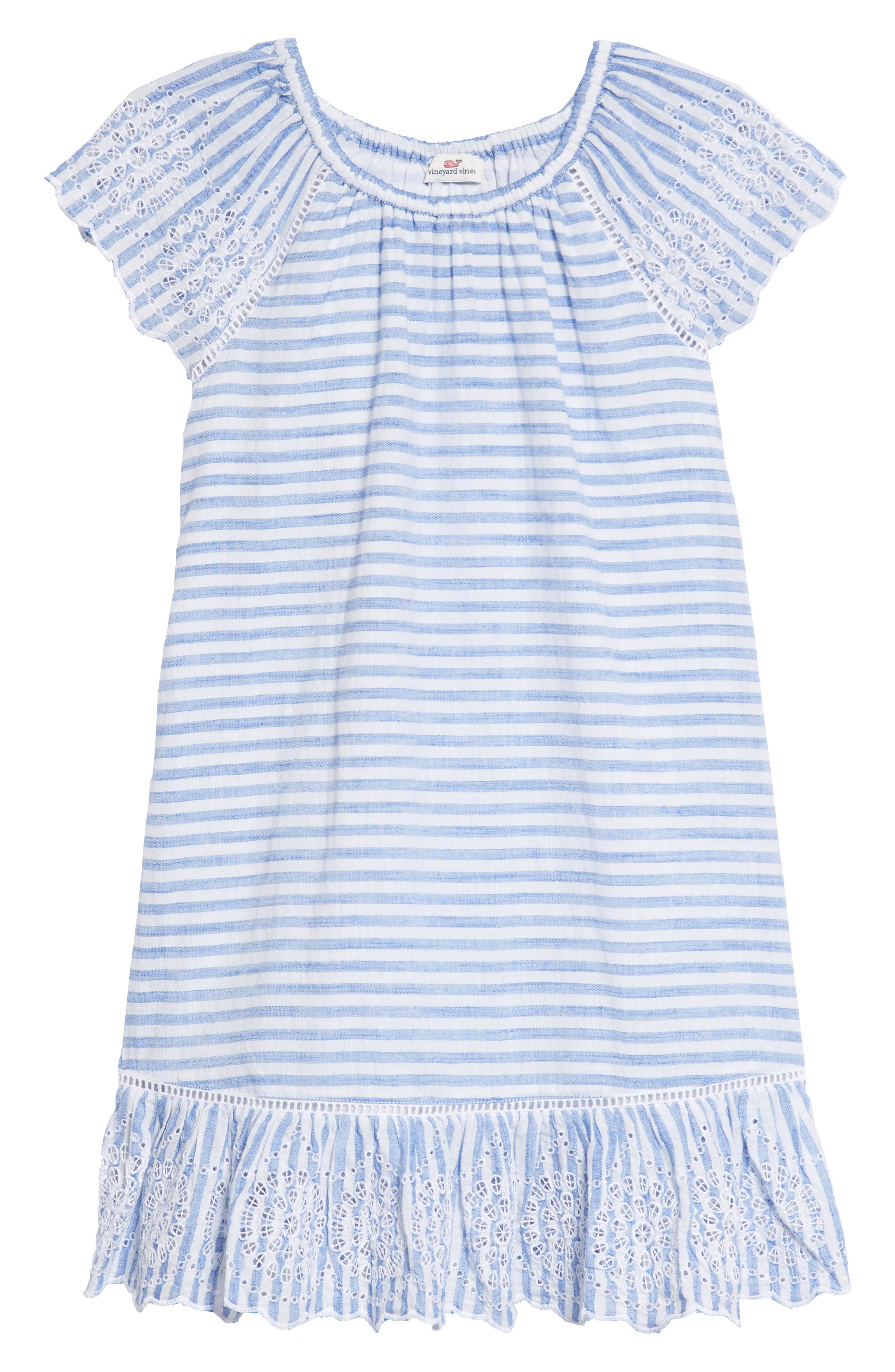 Stripe Eyelet Dress,                         Main,                         color, Yacht Blue