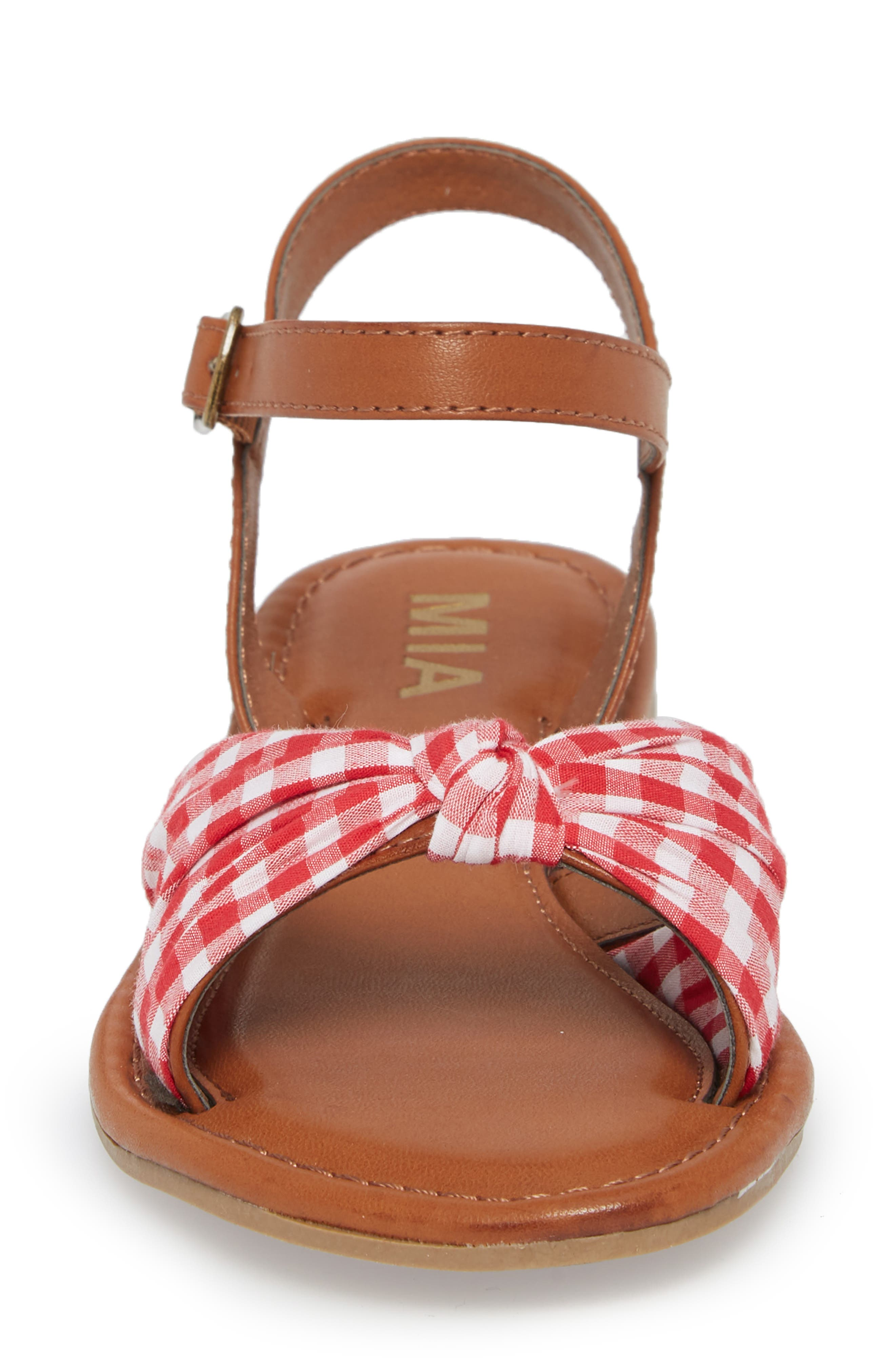 Neala Bow Sandal,                             Alternate thumbnail 4, color,                             Red/ White Fabric