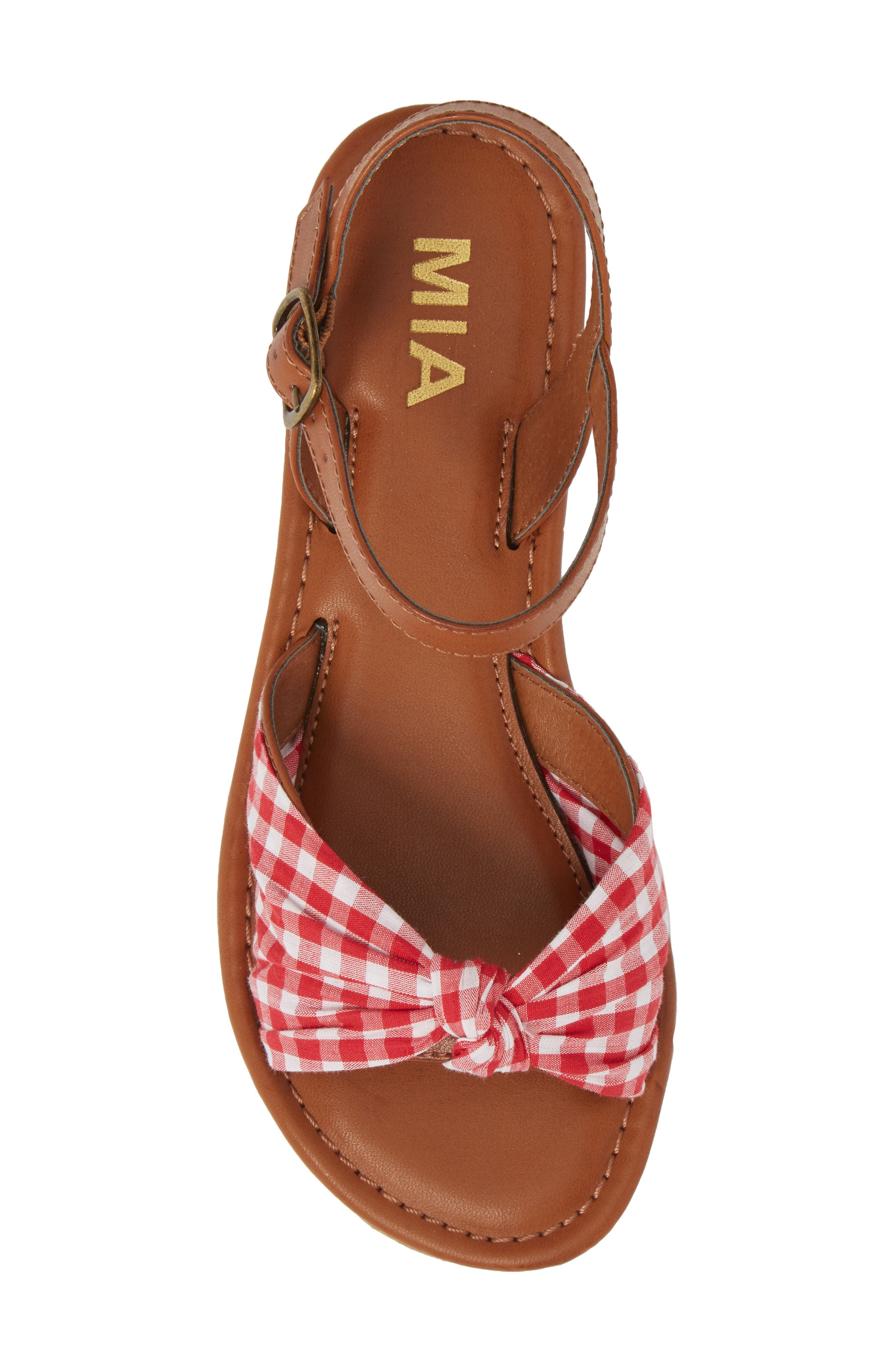 Neala Bow Sandal,                             Alternate thumbnail 5, color,                             Red/ White Fabric