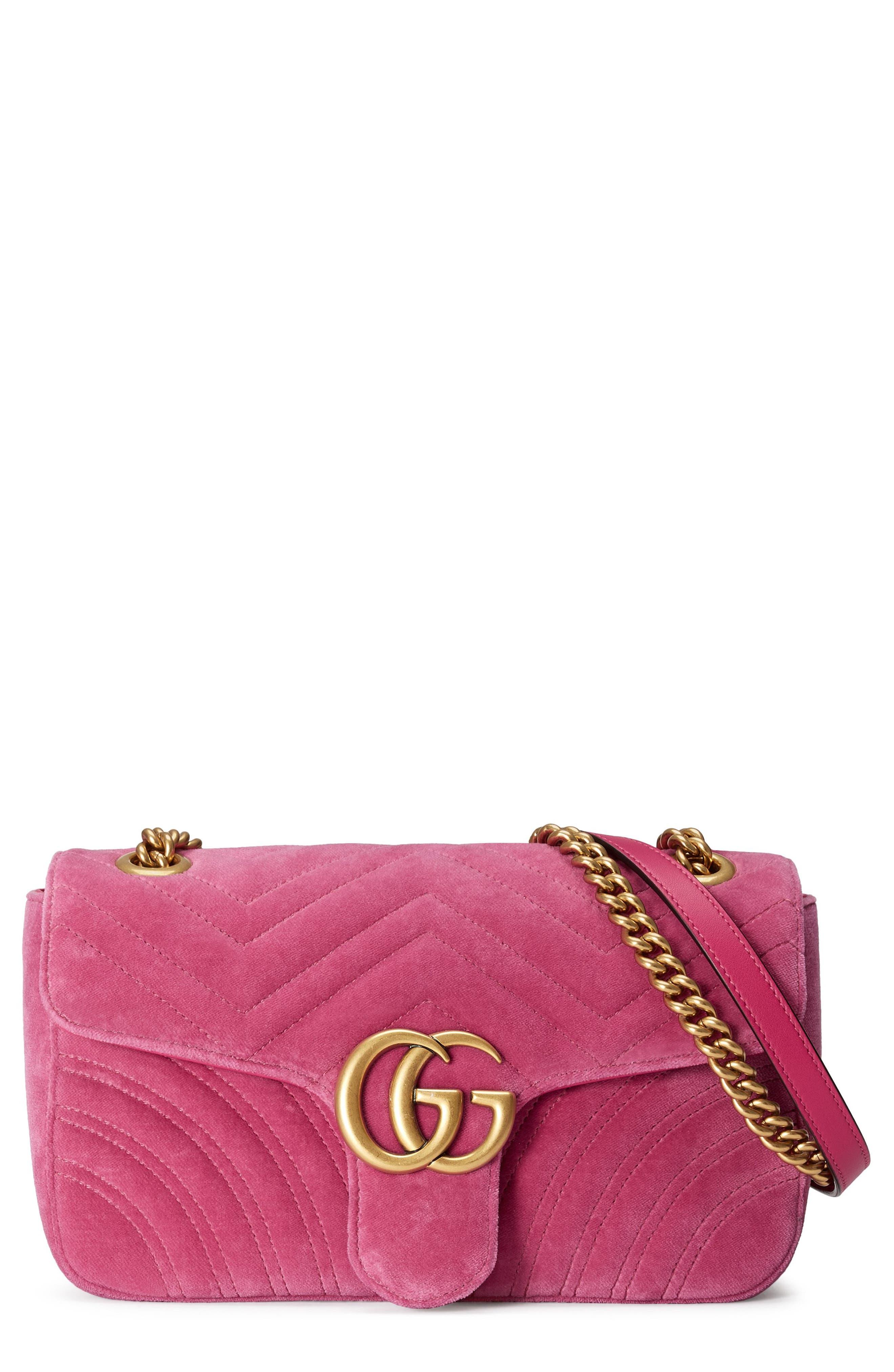 Medium GG Marmont 2.0 Matelassé Velvet Shoulder Bag,                             Main thumbnail 1, color,                             Raspberry/ Raspberry Multi