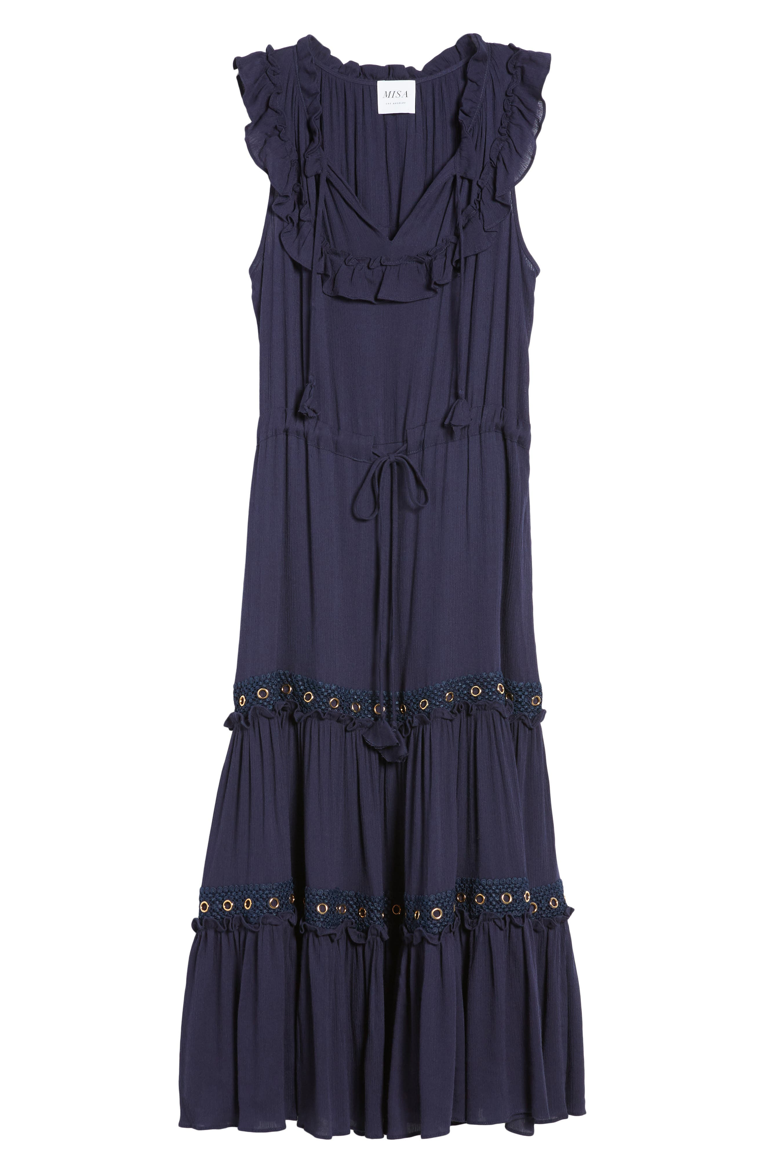 Gabriella Tie Waist Midi Dress,                             Alternate thumbnail 7, color,                             Azure