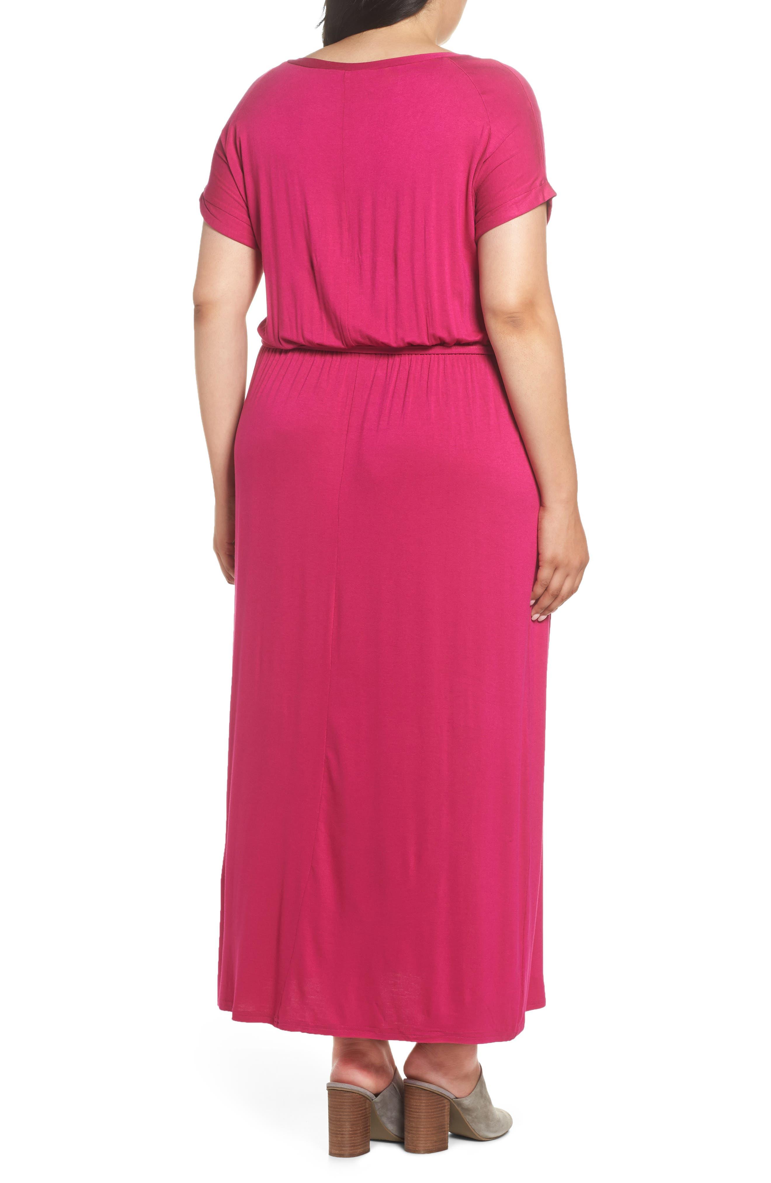 Jersey Maxi Dress,                             Alternate thumbnail 2, color,                             Pink