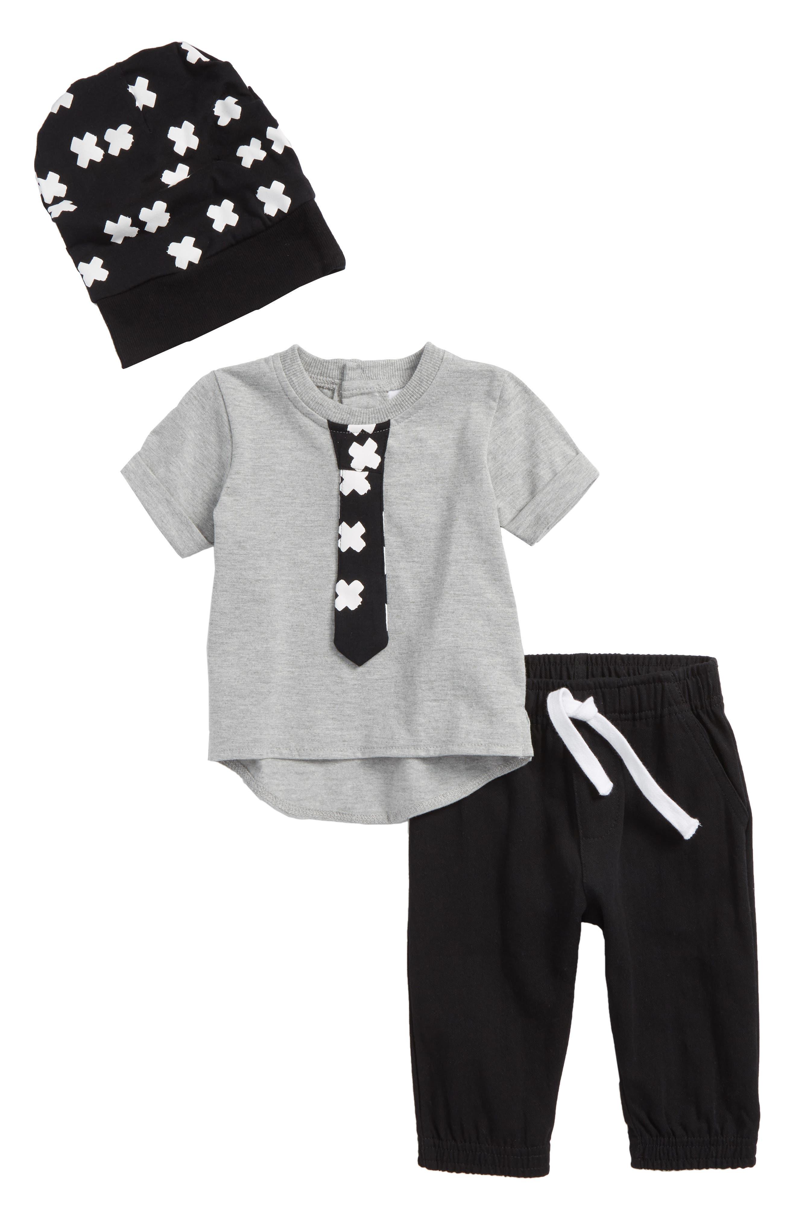 T-Shirt, Jogger Pants & Cap Set,                             Main thumbnail 1, color,                             X Black/ Grey