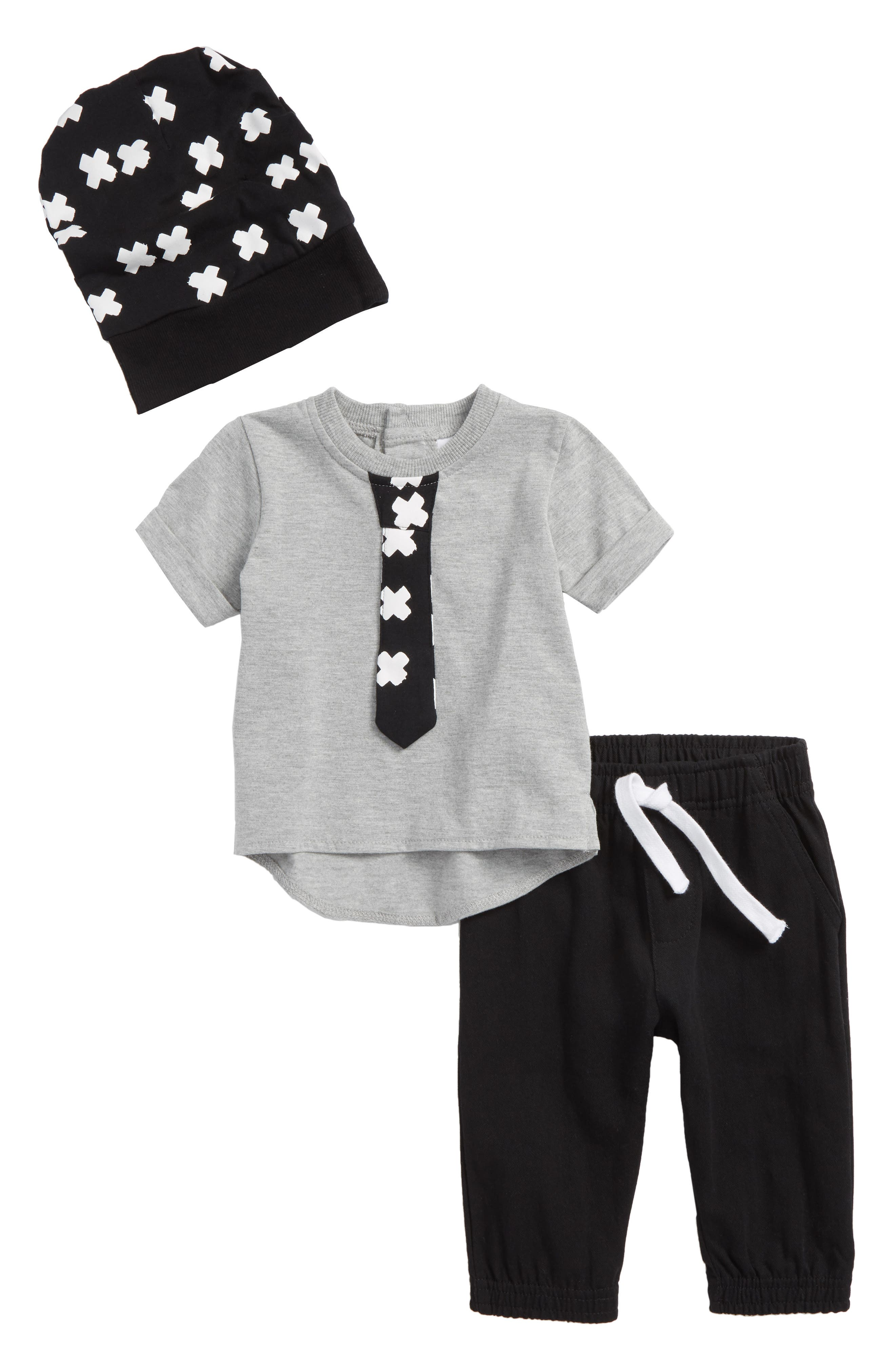 T-Shirt, Jogger Pants & Cap Set,                         Main,                         color, X Black/ Grey