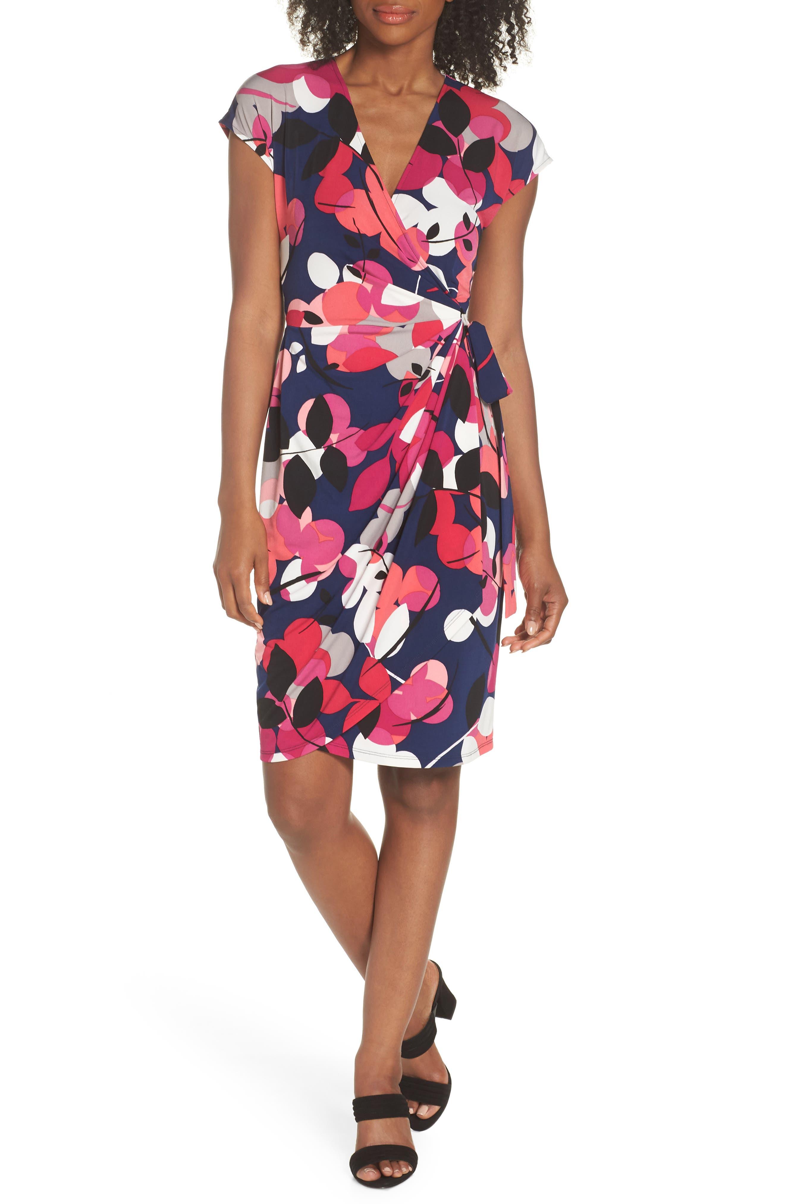 Berry Floral Wrap Dress,                             Main thumbnail 1, color,                             Navy/ Berry