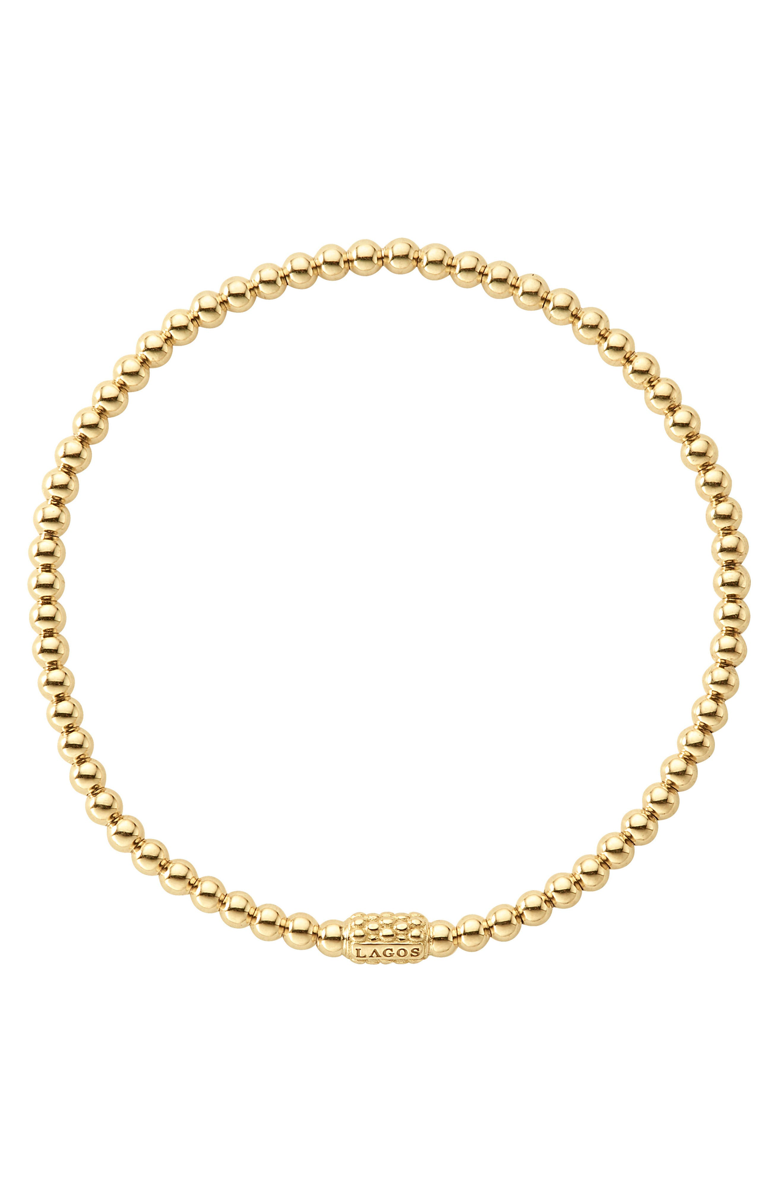Caviar Gold Ball Stretch Bracelet,                             Alternate thumbnail 4, color,                             Gold