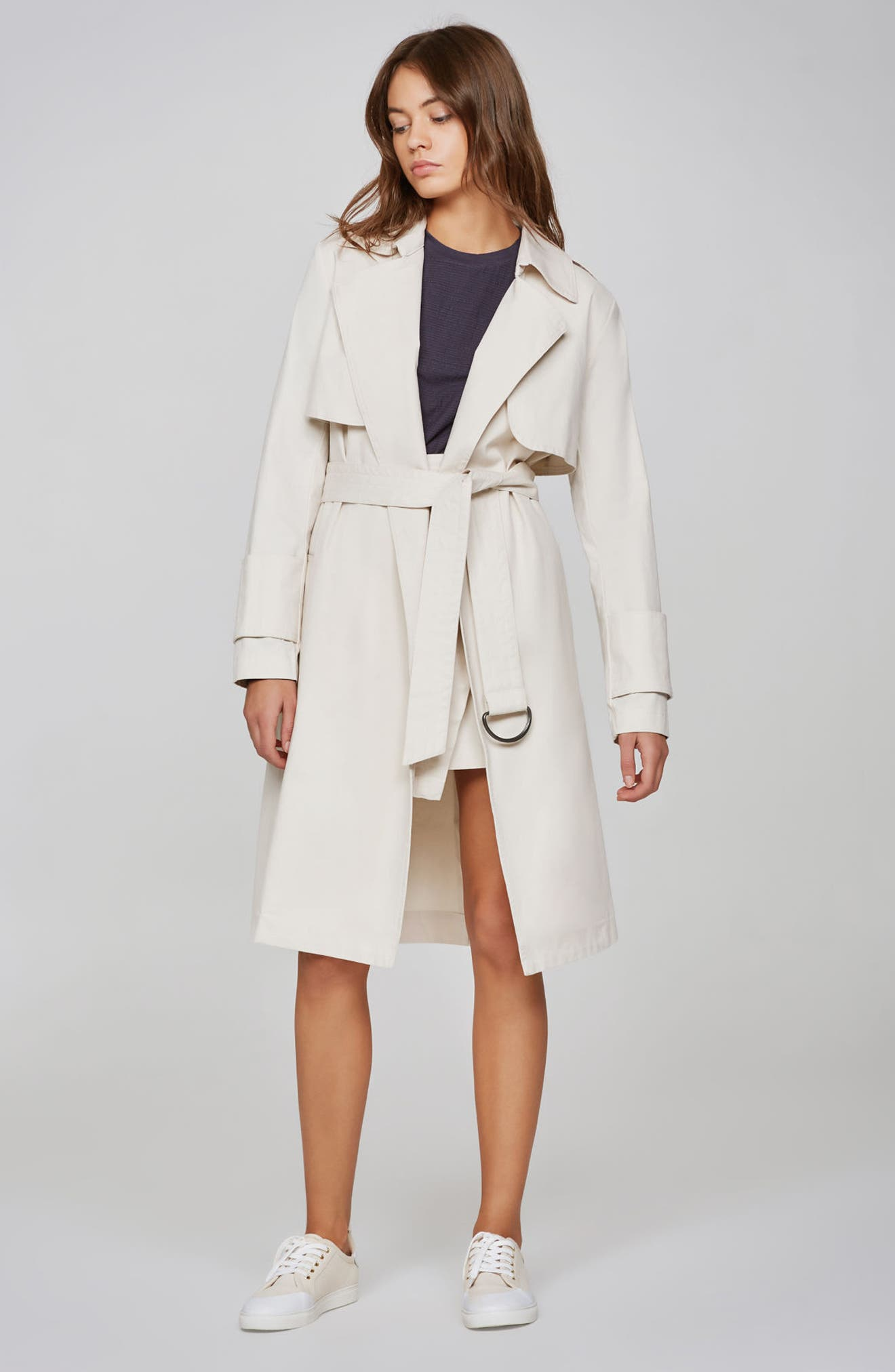 Expedition Drape Trench,                             Alternate thumbnail 8, color,                             Bone