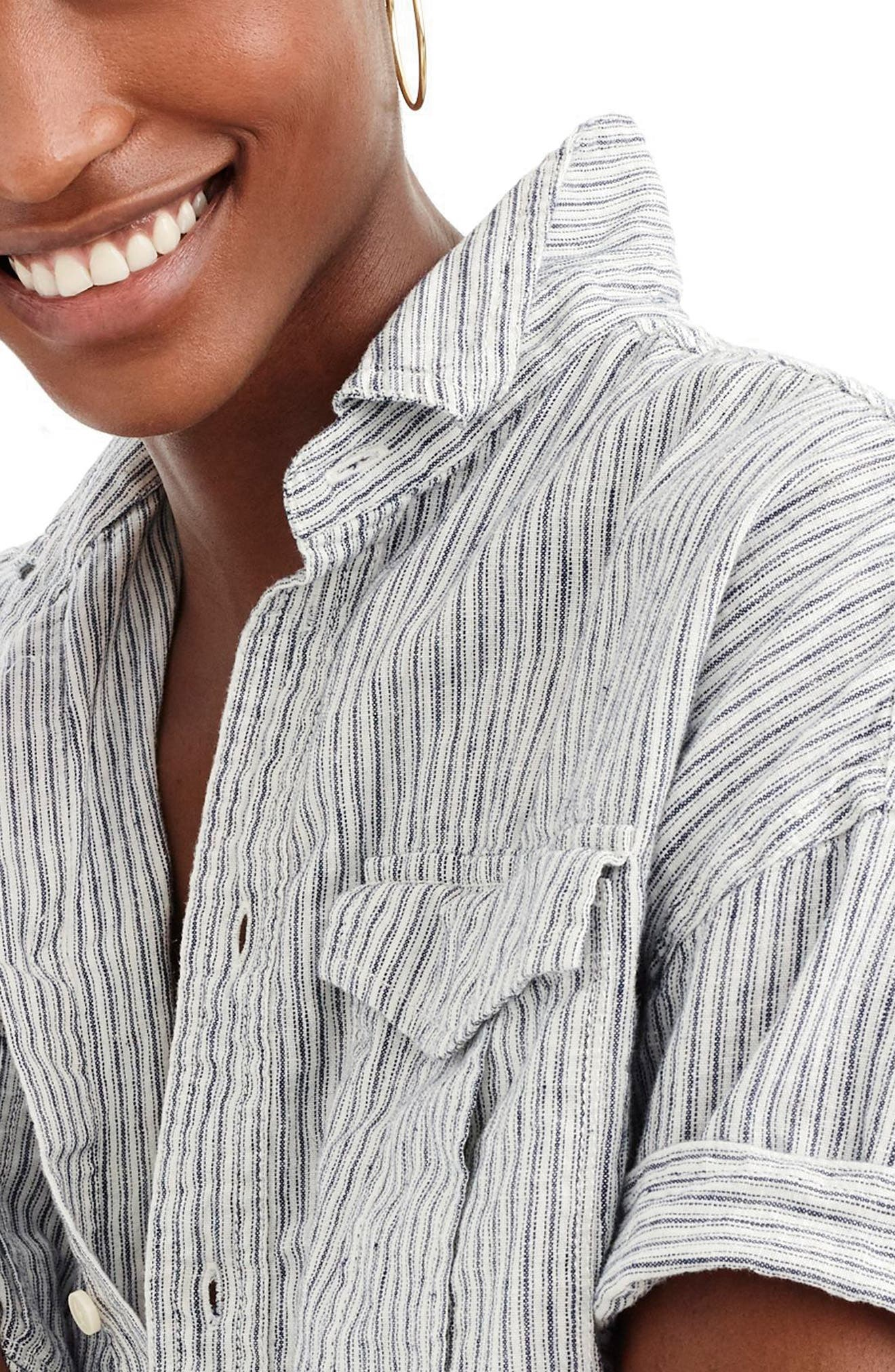 J.Crew Utility Pocket Stripe Chambray Shirt,                             Alternate thumbnail 3, color,                             Foley Wash
