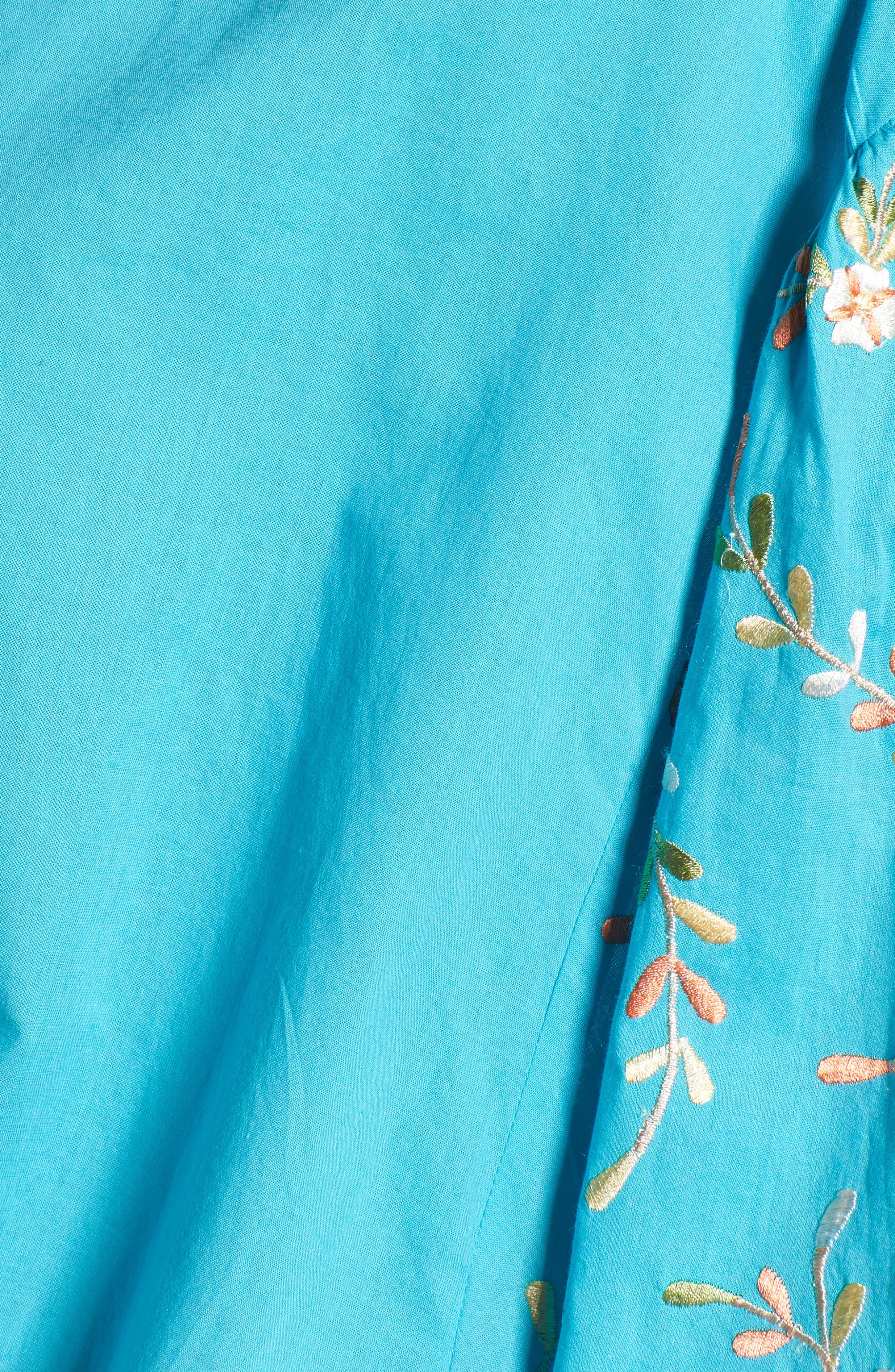 Coline Front Tie Embroidered Sleeve Blouse,                             Alternate thumbnail 6, color,                             Turquoise