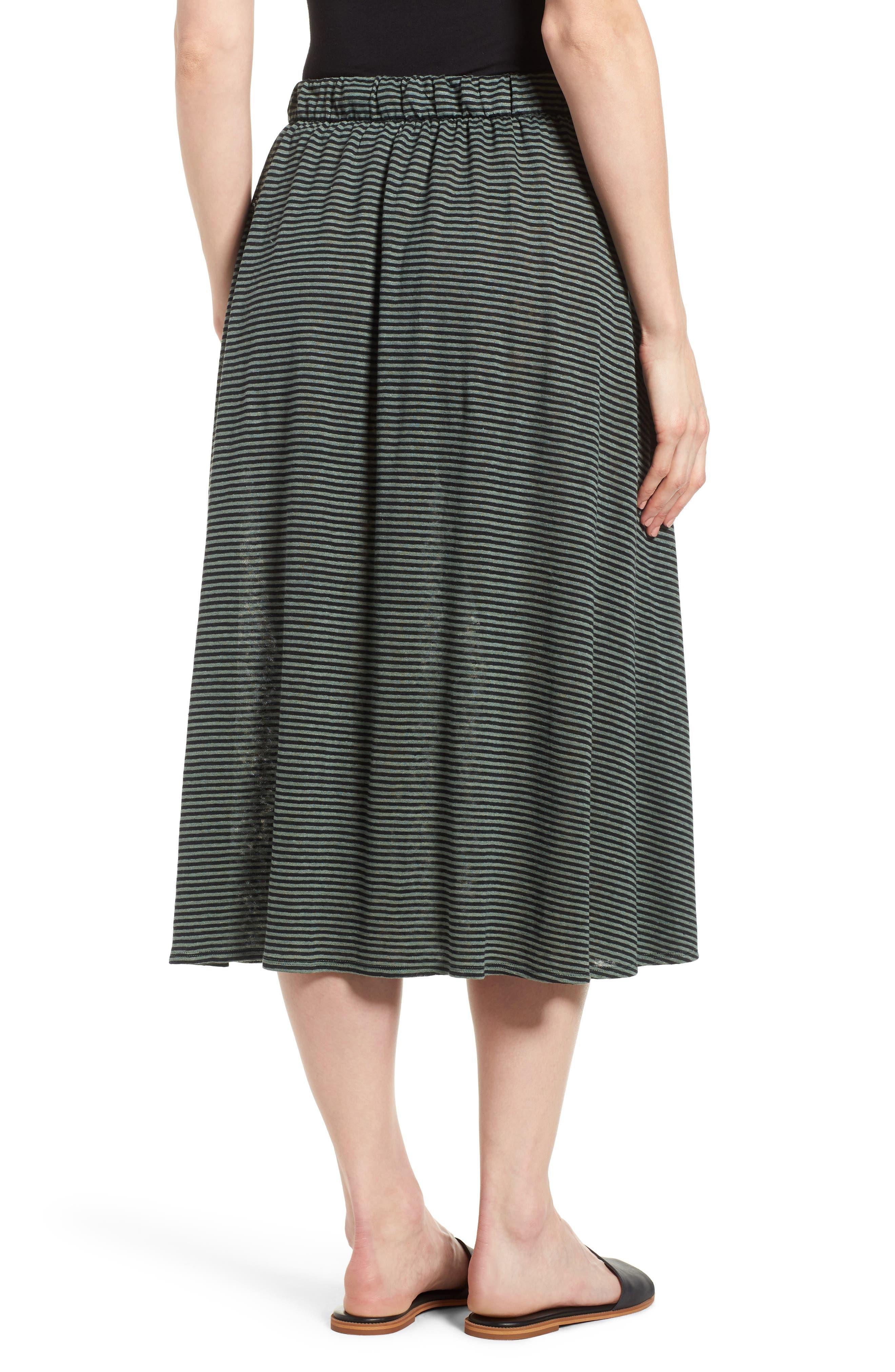 Flared Stripe Organic Linen Skirt,                             Alternate thumbnail 2, color,                             Nori