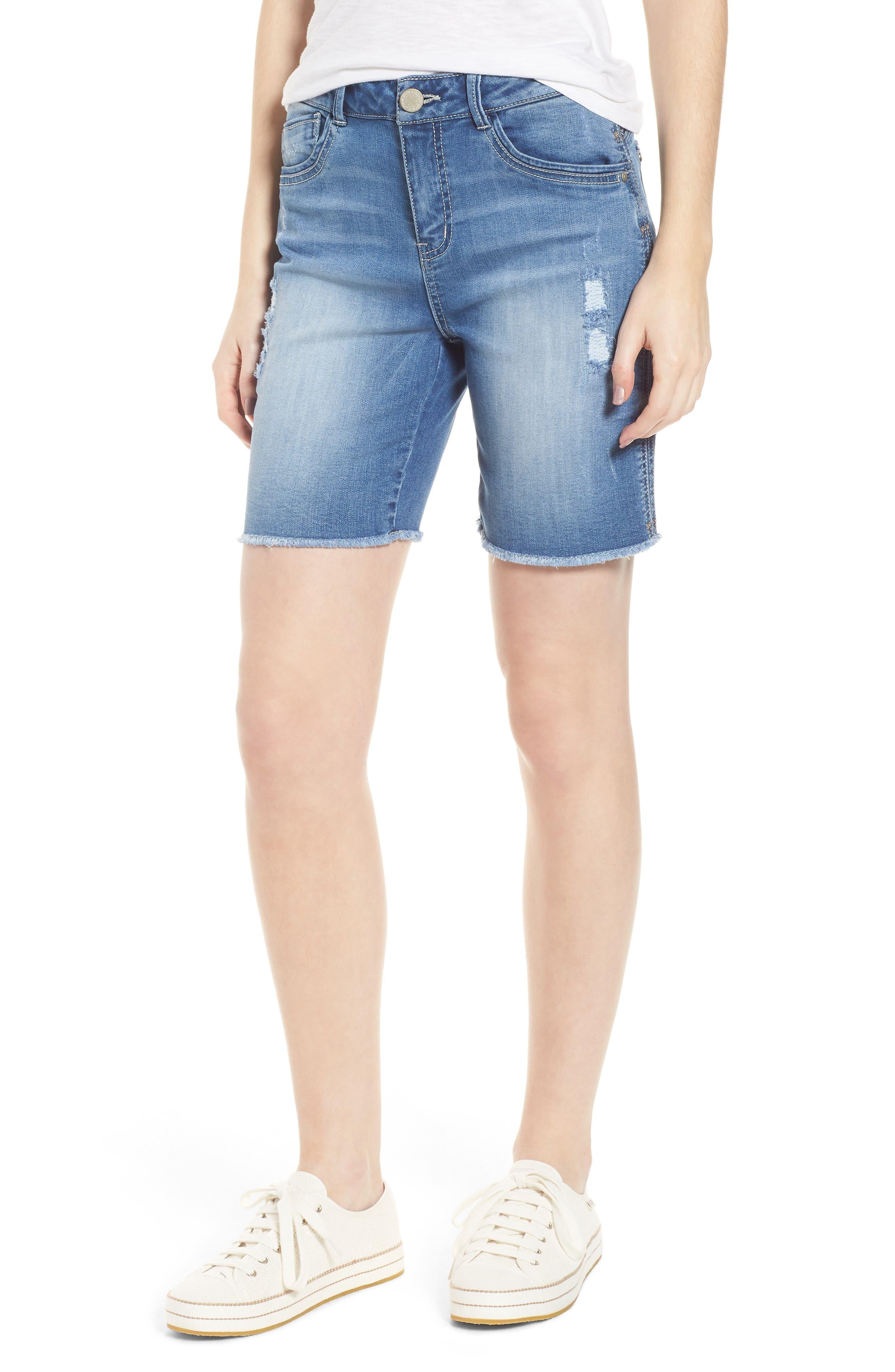 Flex-Ellent High Rise Denim Shorts,                             Main thumbnail 1, color,                             Light Blue
