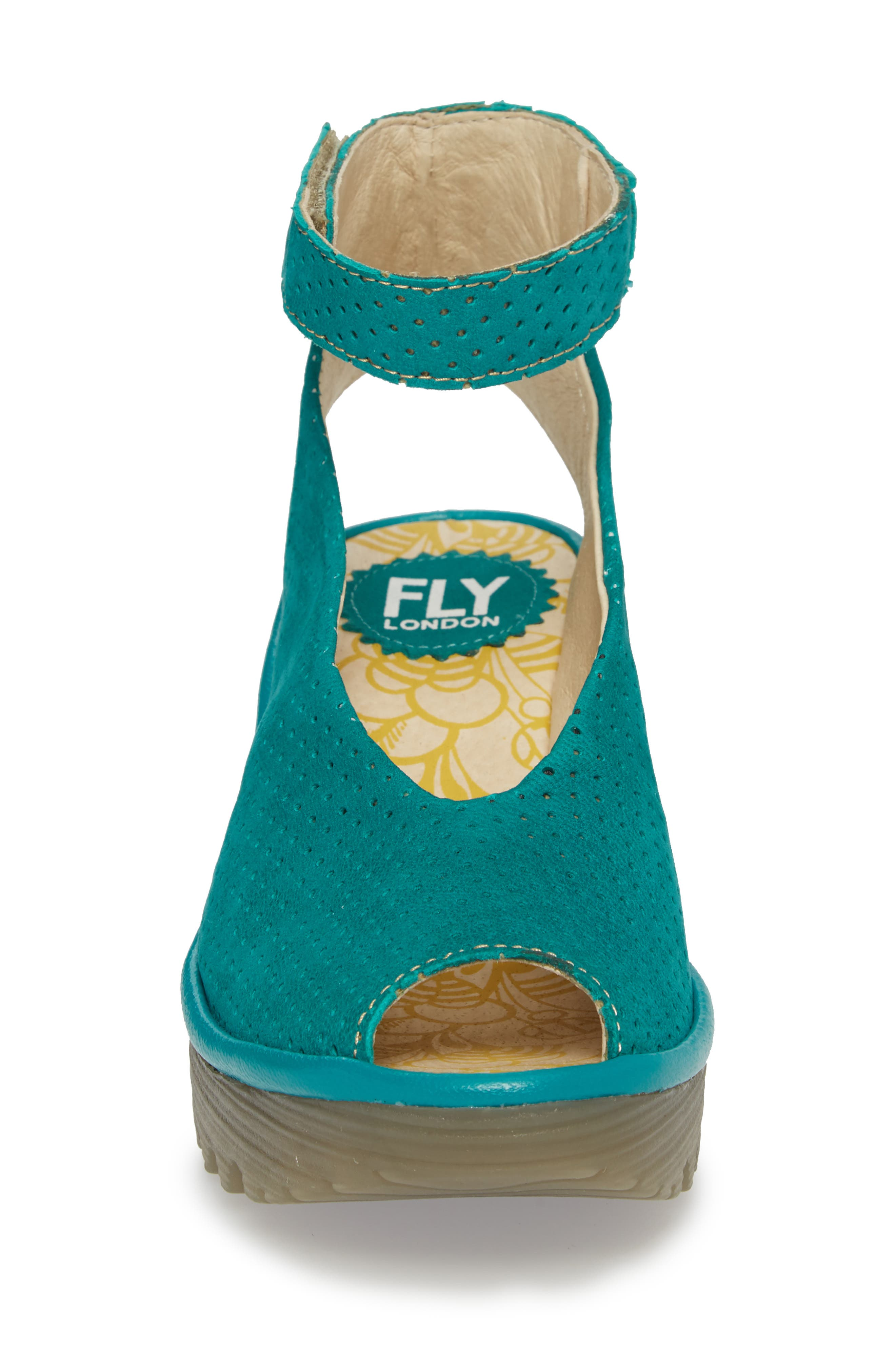 'Yala' Perforated Leather Sandal,                             Alternate thumbnail 4, color,                             Green Leather