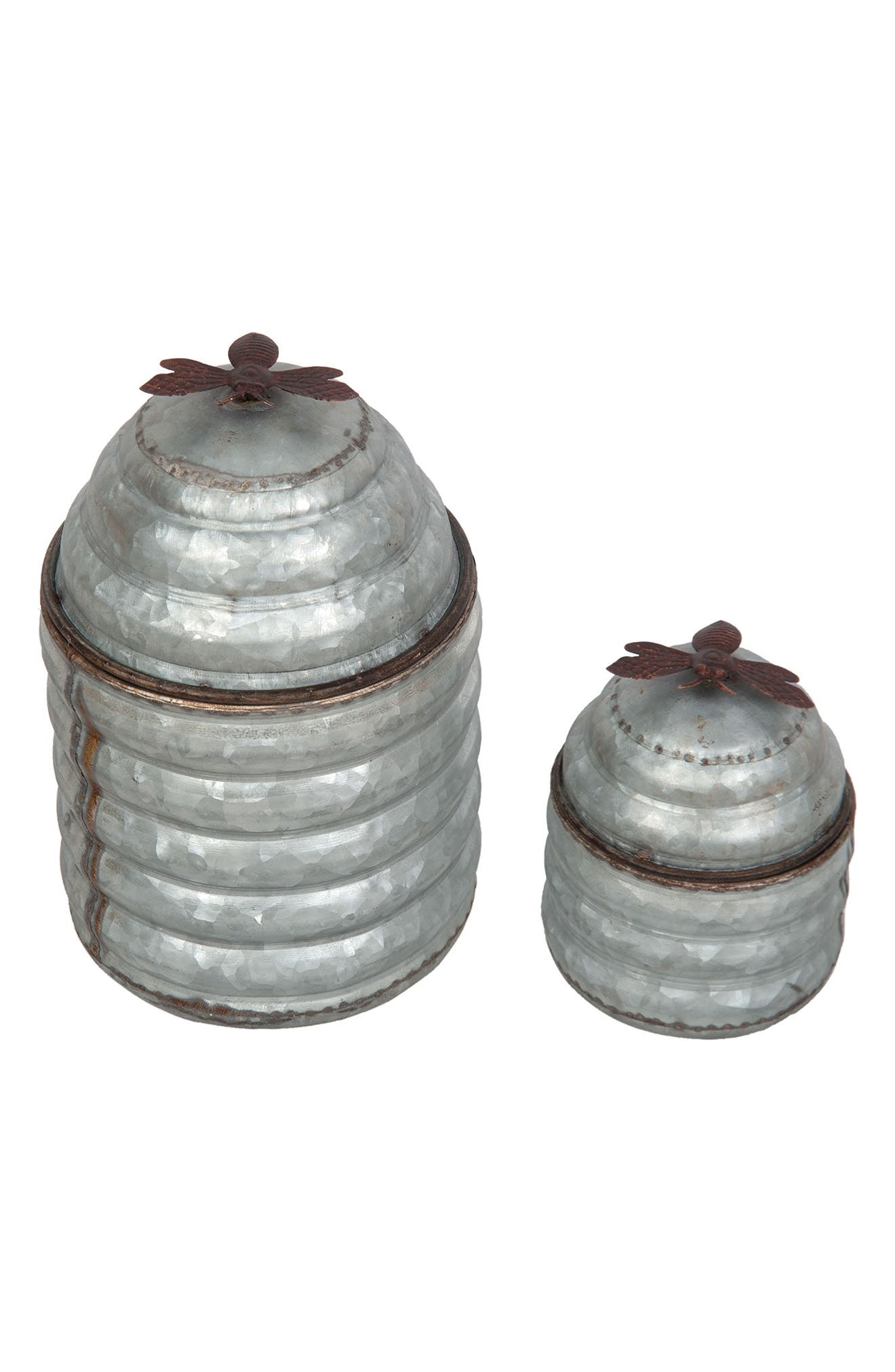 Beehive Set of 2 Containers,                         Main,                         color, Metal