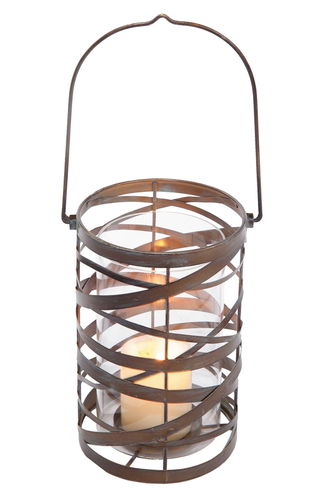 Coil Lantern Candleholder,                         Main,                         color, Metal/ Glass