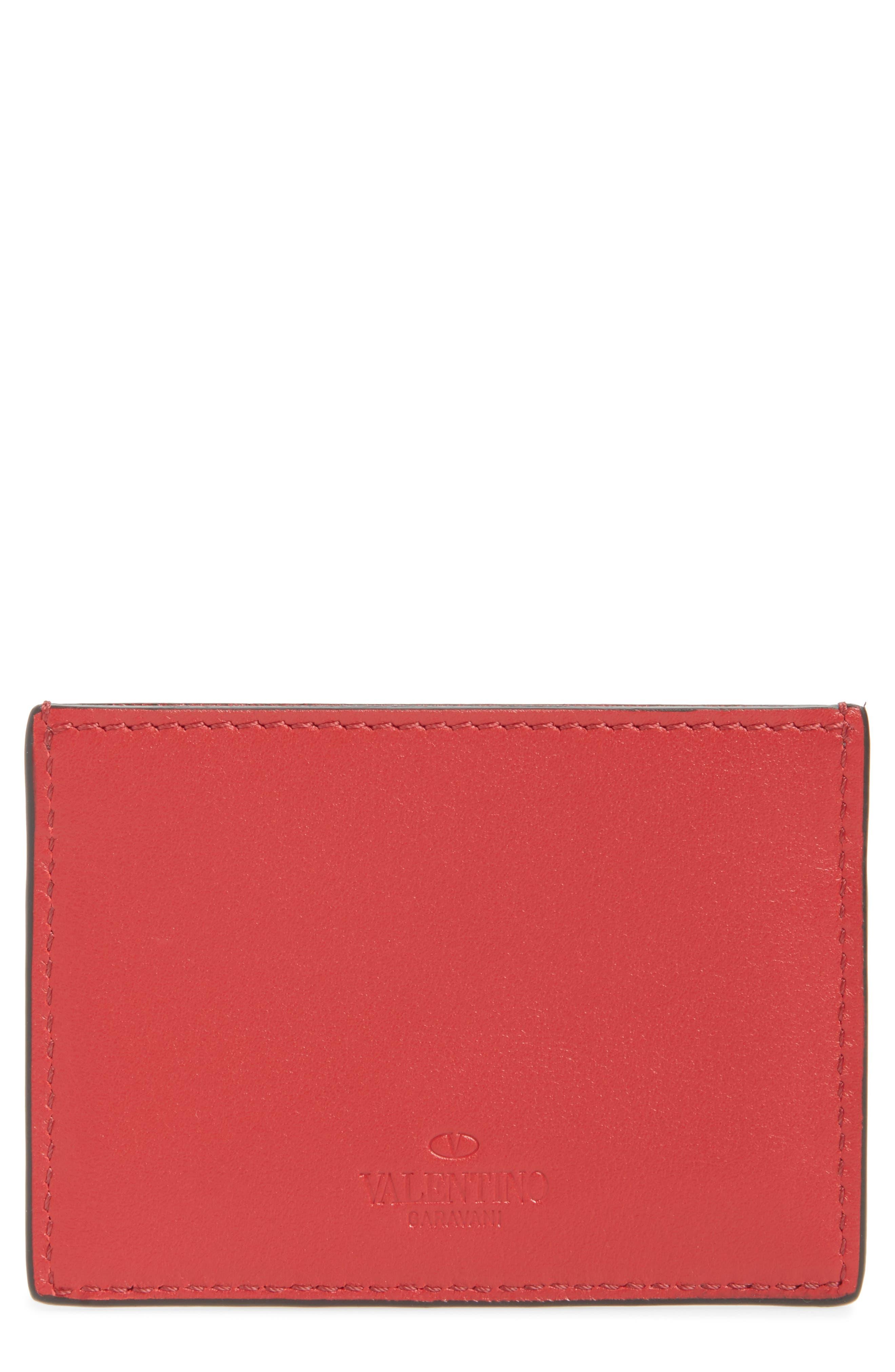 GARAVANI Stud Leather Card Case,                             Alternate thumbnail 2, color,                             Red