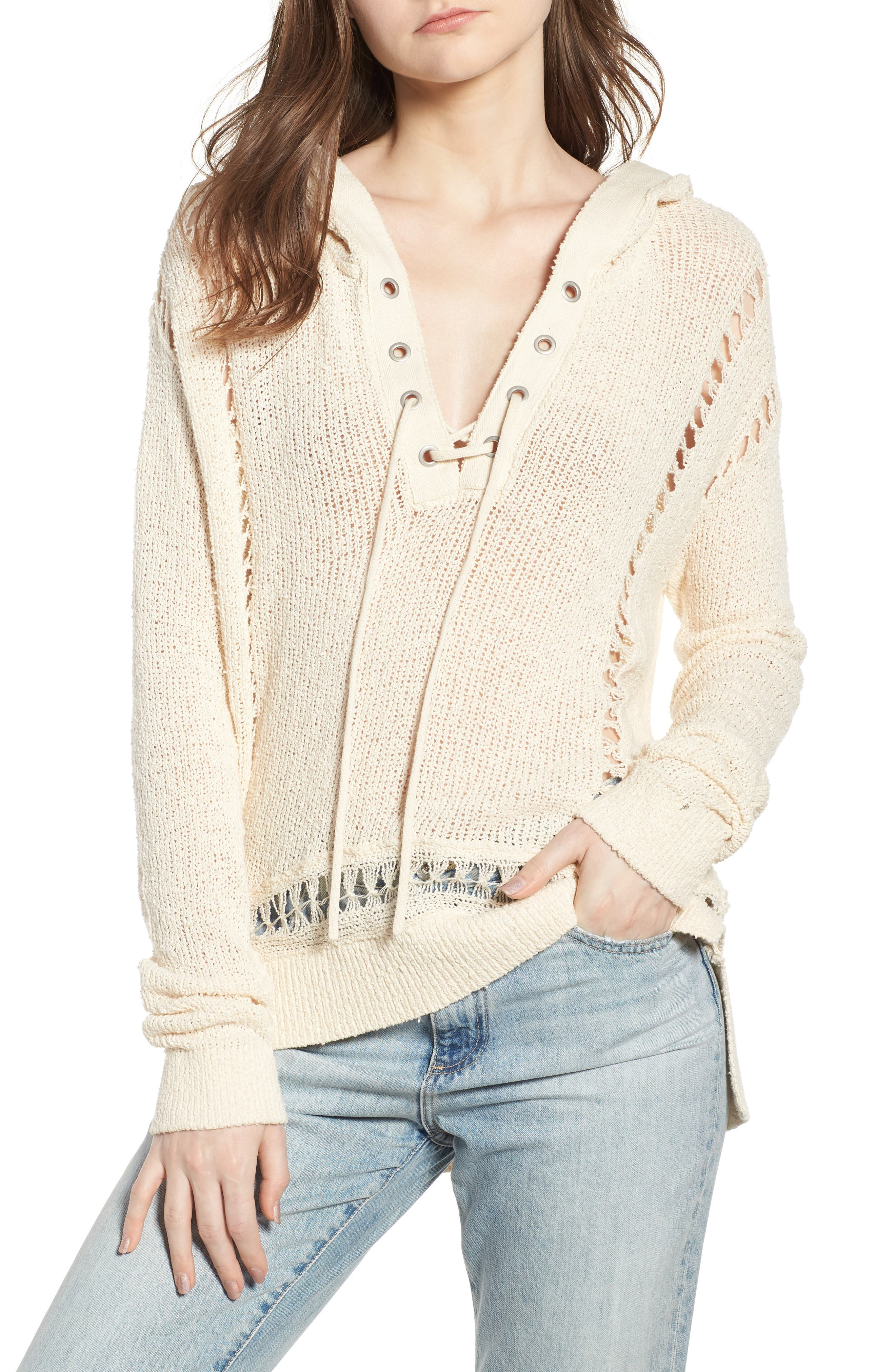 Oversize Beach Hoodie,                         Main,                         color, Color 0402 Antique White