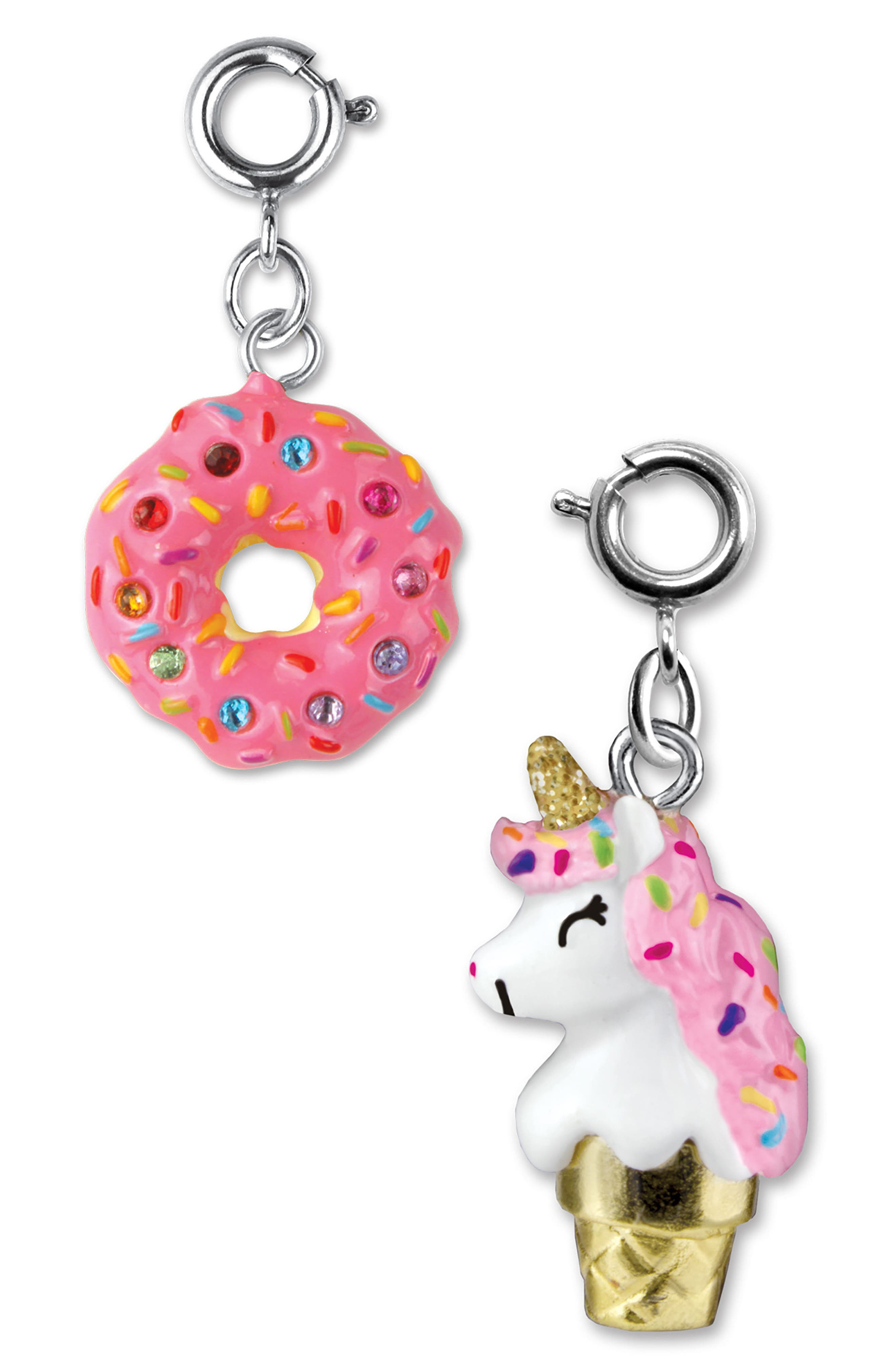 CHARM IT!<sup>®</sup> 2-Pack Donut & Unicone Charms,                             Main thumbnail 1, color,                             Multi