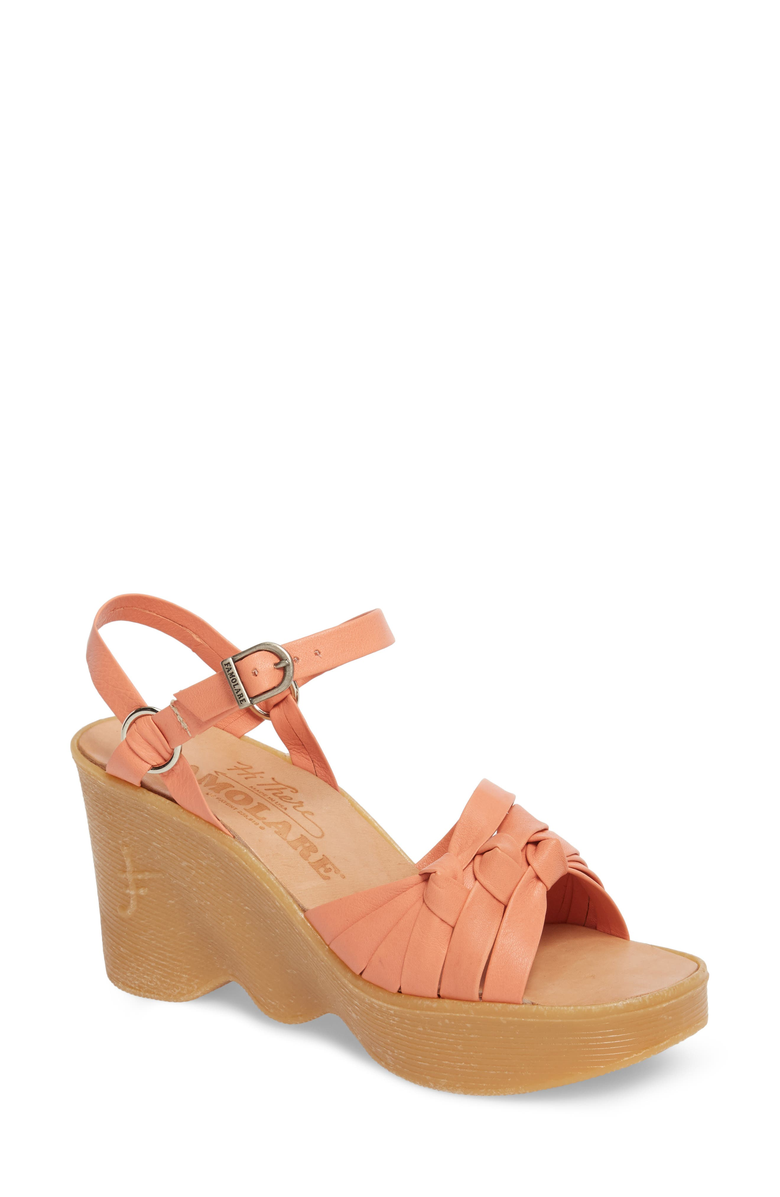 Knot So Fast Wedge Sandal,                         Main,                         color, Salmon Leather