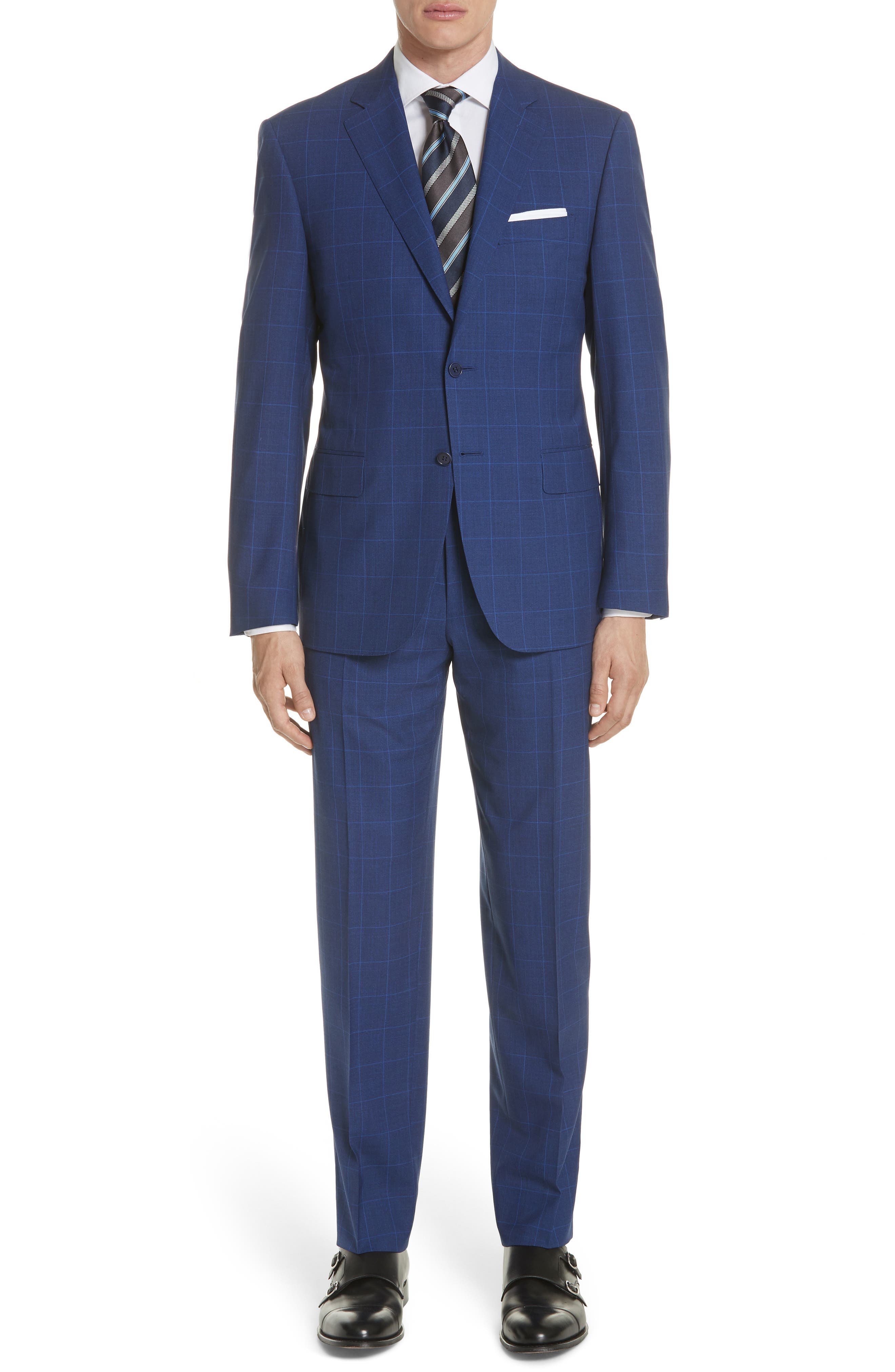 Classic Fit Windowpane Wool Suit,                         Main,                         color, Blue