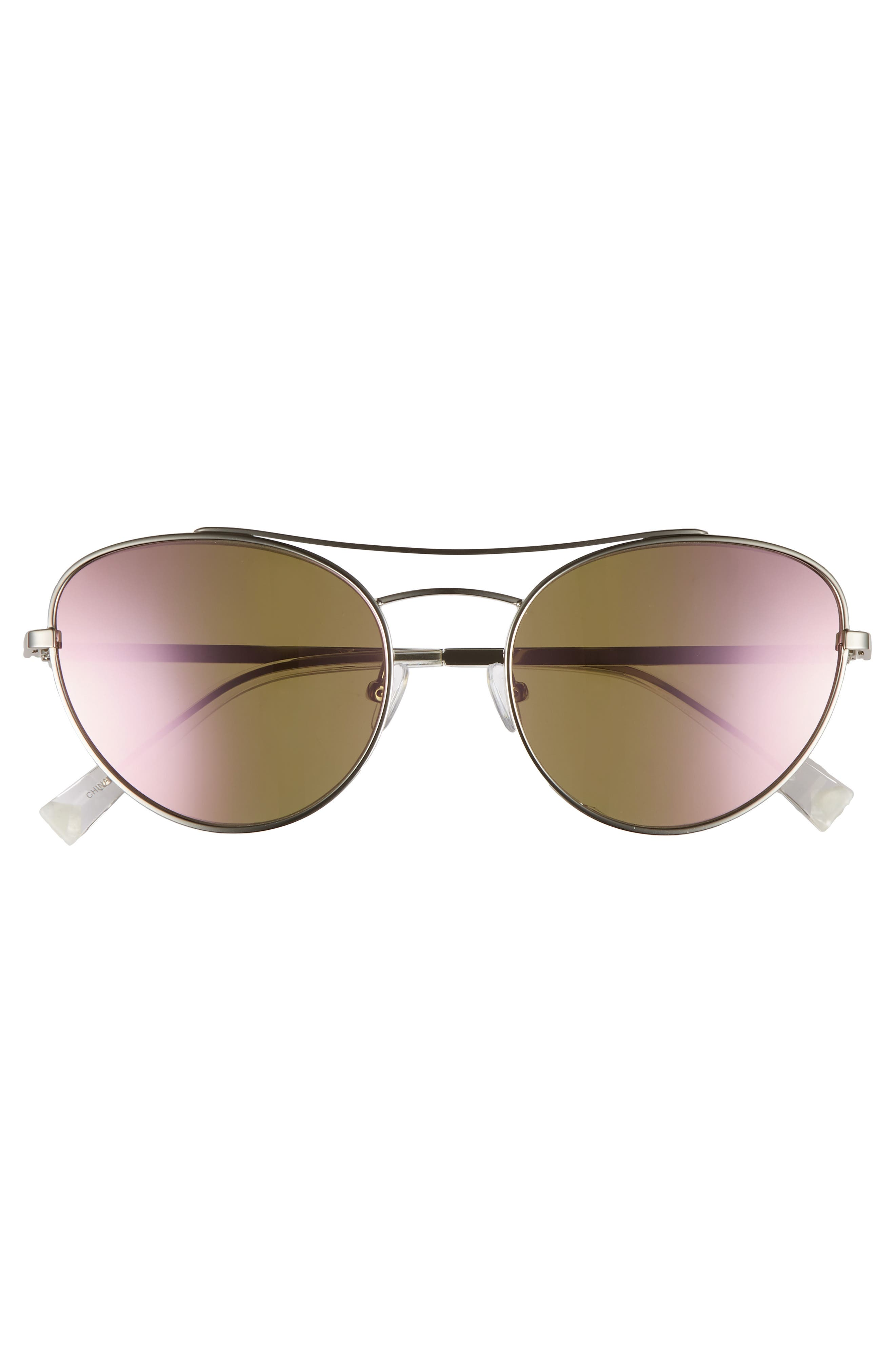 Yasmin 55mm Aviator Sunglasses,                             Alternate thumbnail 3, color,                             Silver/ Rose Gold Mirror