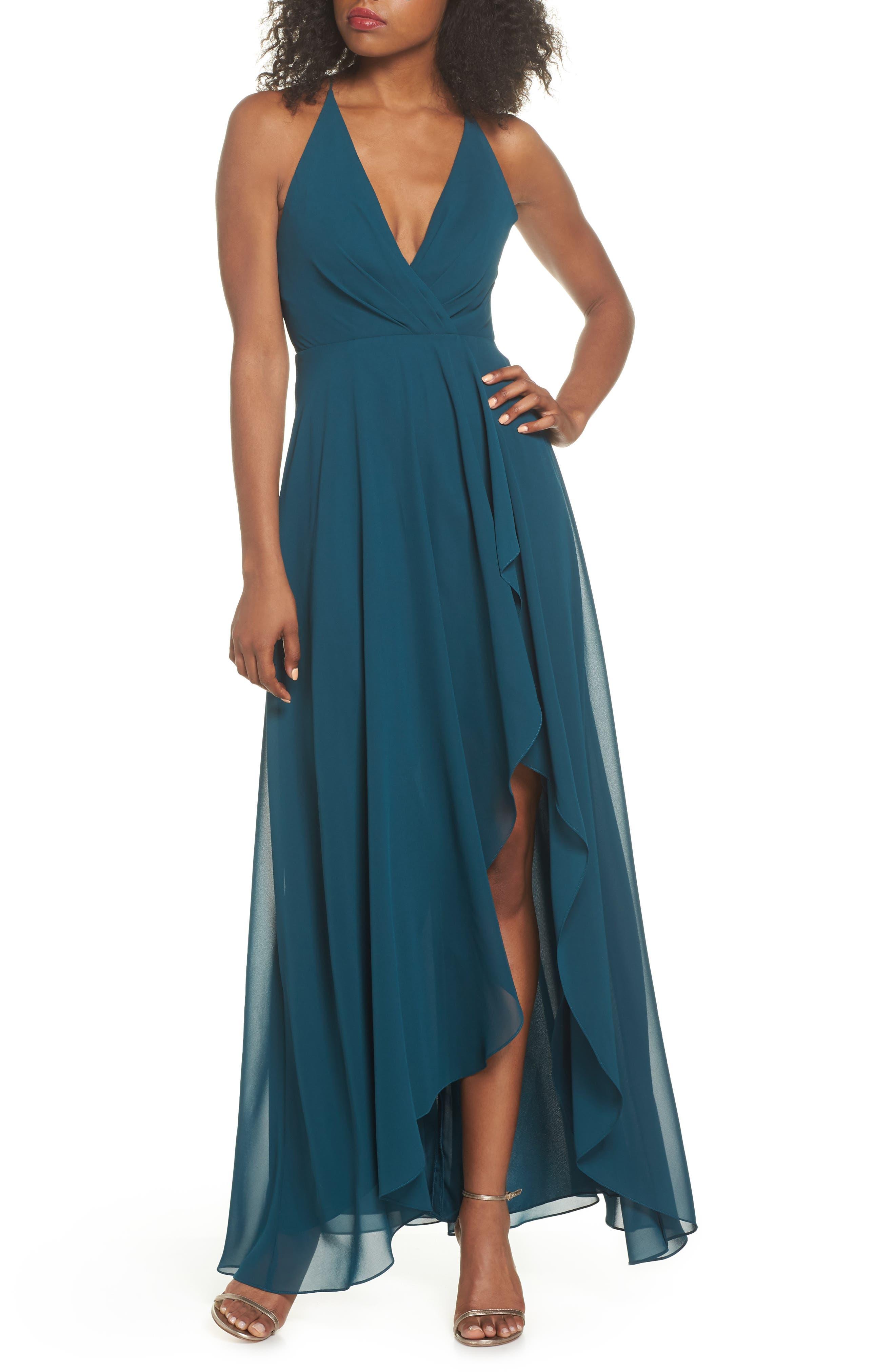 Alternate Image 1 Selected - Jenny Yoo Farrah Ruffle Skirt Chiffon Gown