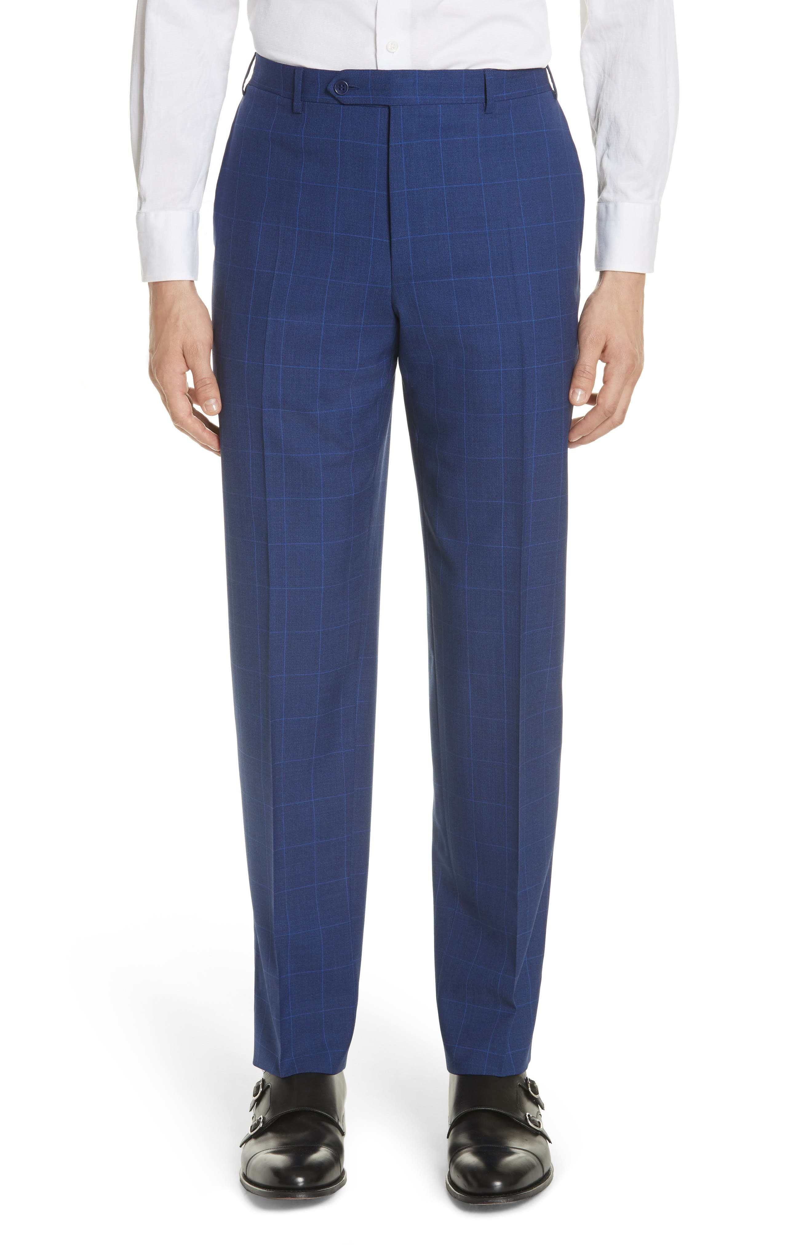 Classic Fit Windowpane Wool Suit,                             Alternate thumbnail 6, color,                             Blue