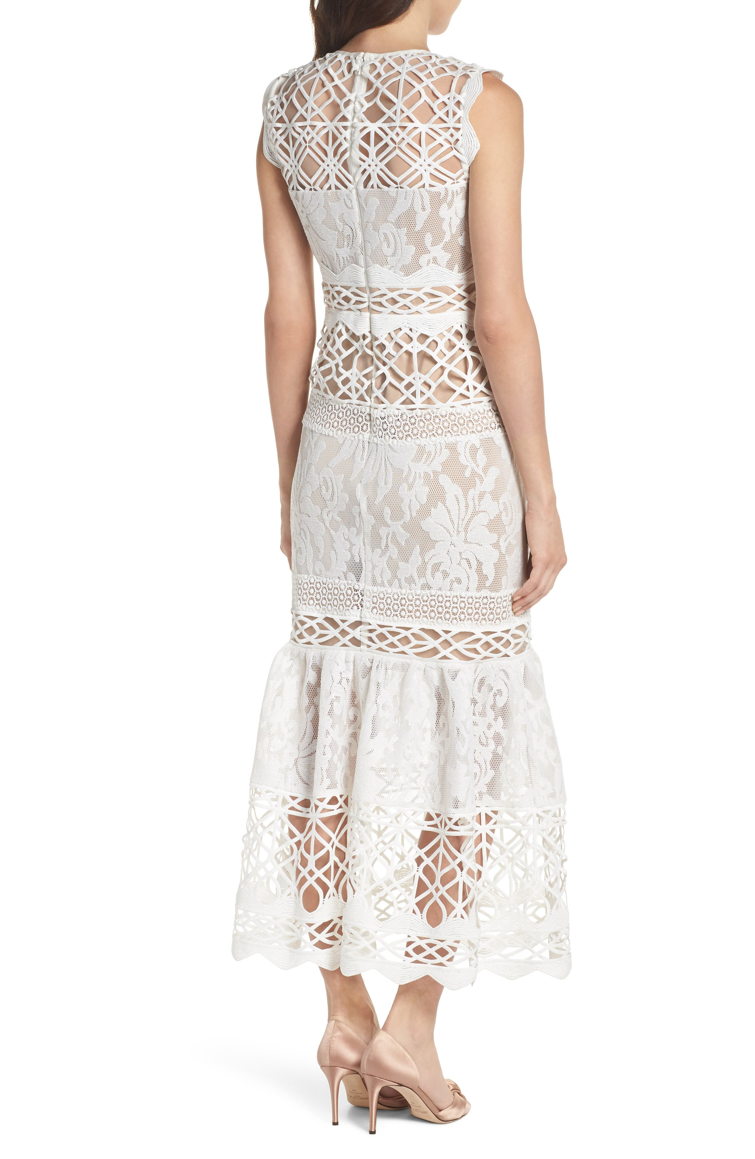 Mixed Lace Dress,                             Alternate thumbnail 2, color,                             Ivory Nude