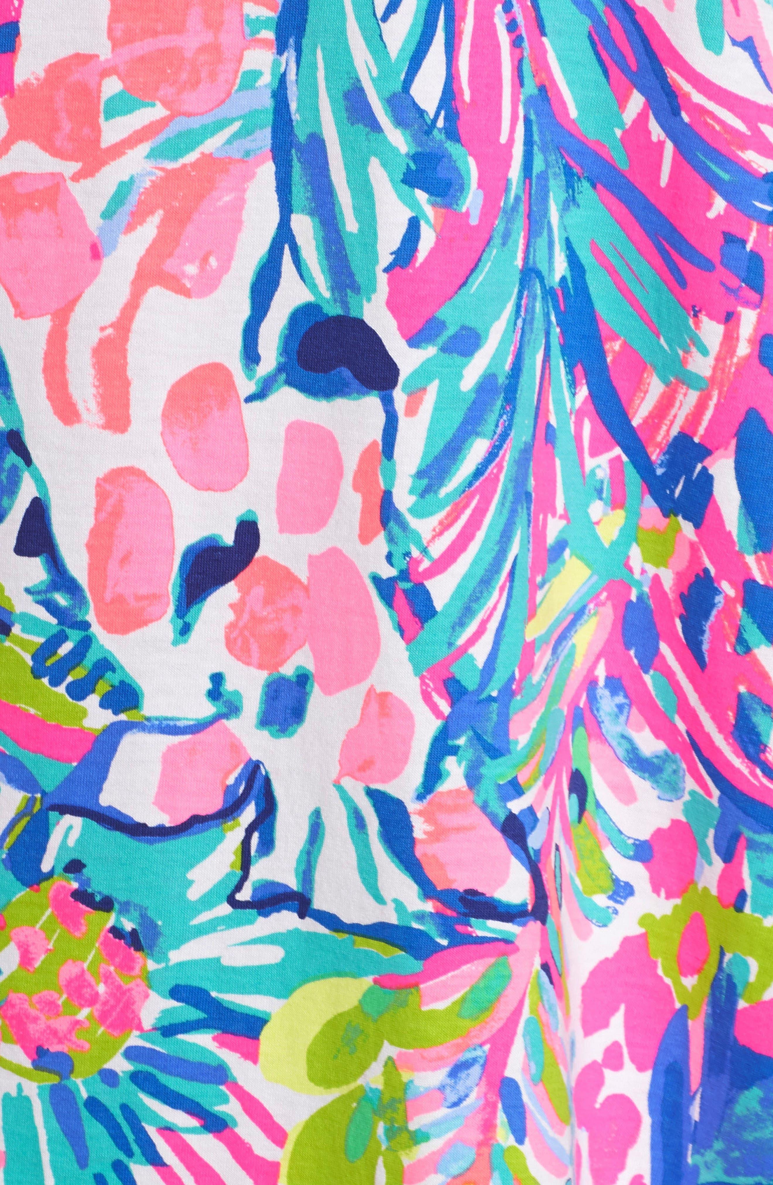 Kristen Trapeze Dress,                             Alternate thumbnail 5, color,                             Multi Gumbo Limbo