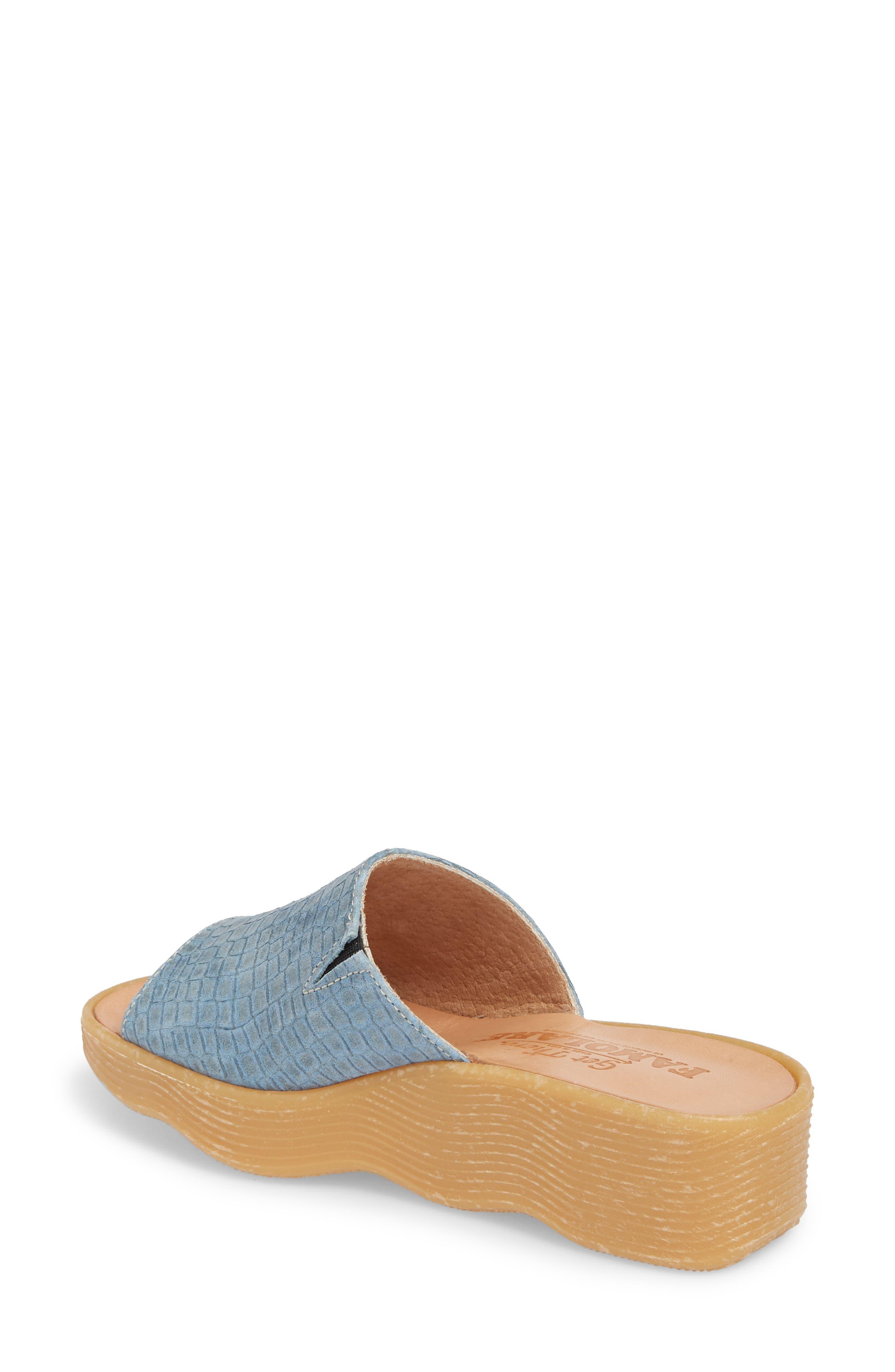 Slide N Sleek Wedge Slide Sandal,                             Alternate thumbnail 2, color,                             Aqua Croc Printed Leather