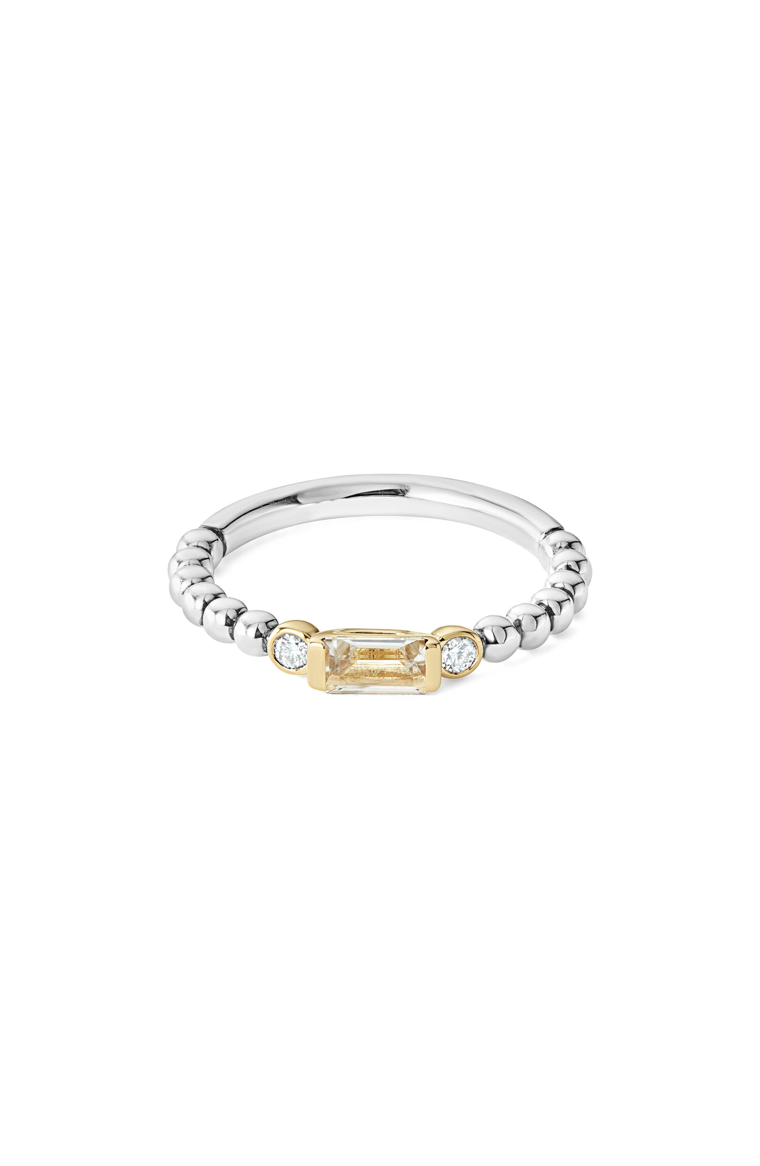 LAGOS Gemstone Baguette and Diamond Beaded Band Ring