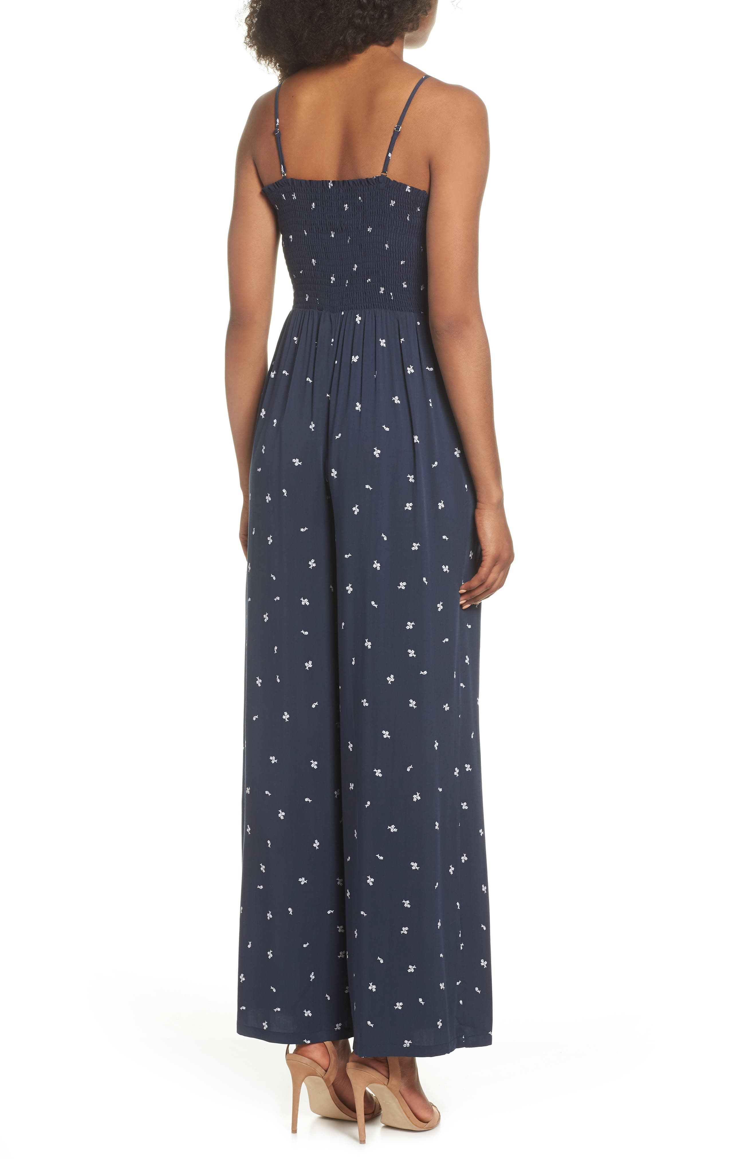 West Floral Jumpsuit,                             Alternate thumbnail 2, color,                             Navy Dainty Ditsy