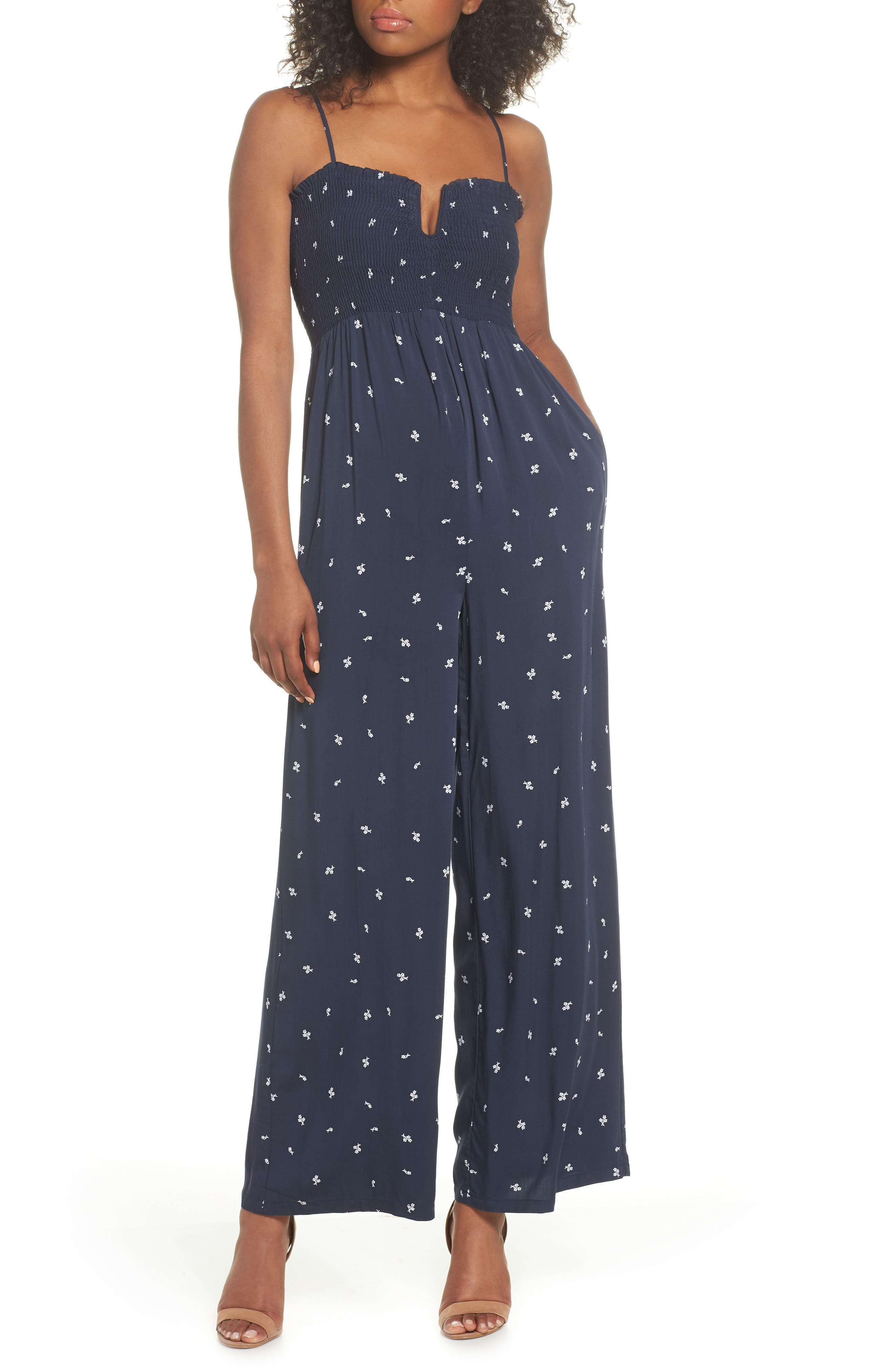 West Floral Jumpsuit,                             Main thumbnail 1, color,                             Navy Dainty Ditsy