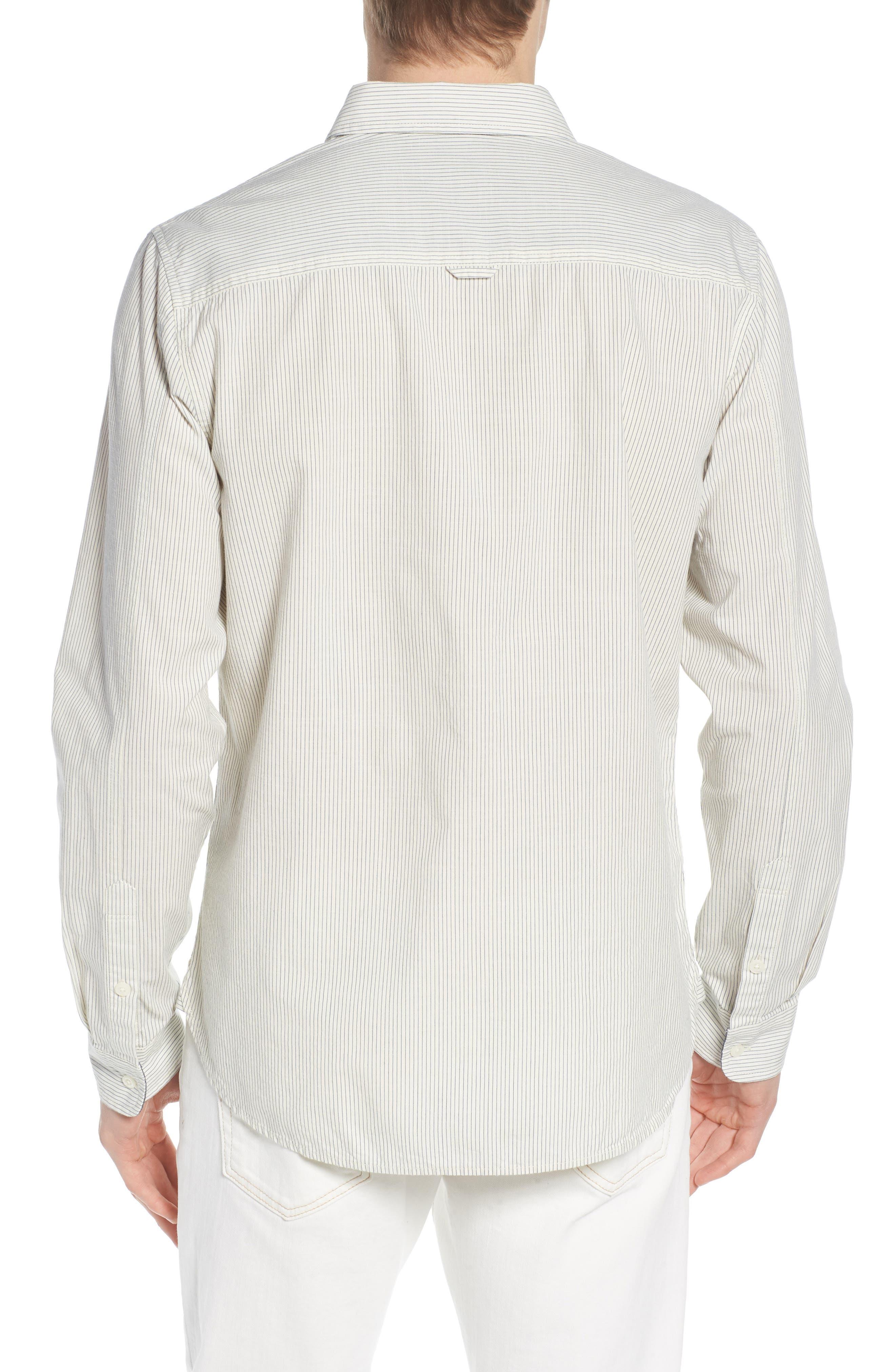 Colton Regular Fit Stripe Sport Shirt,                             Alternate thumbnail 3, color,                             Natural/Mosaic Blue