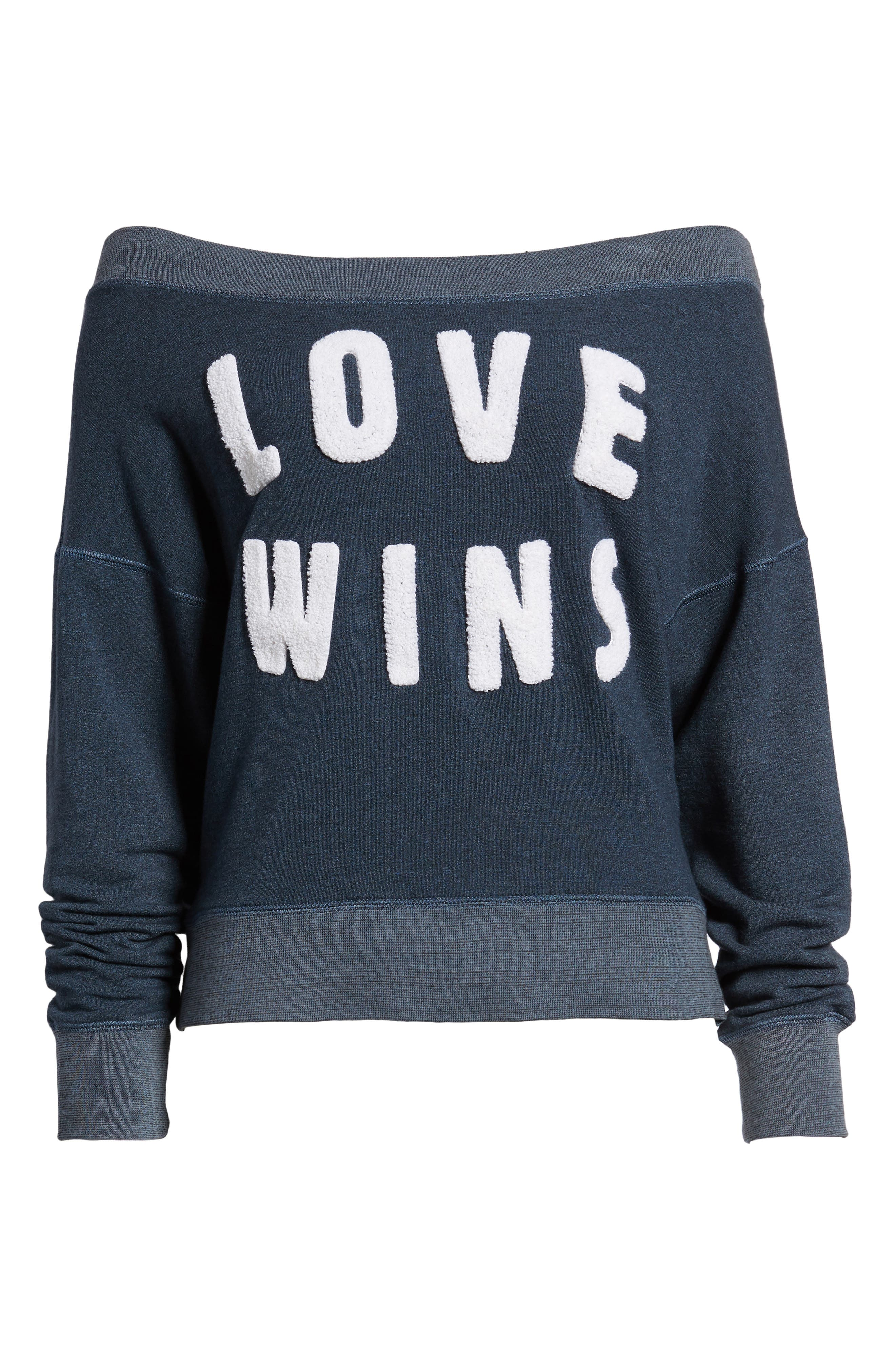Love Wins Off the Shoulder Pullover,                             Alternate thumbnail 7, color,                             Navy