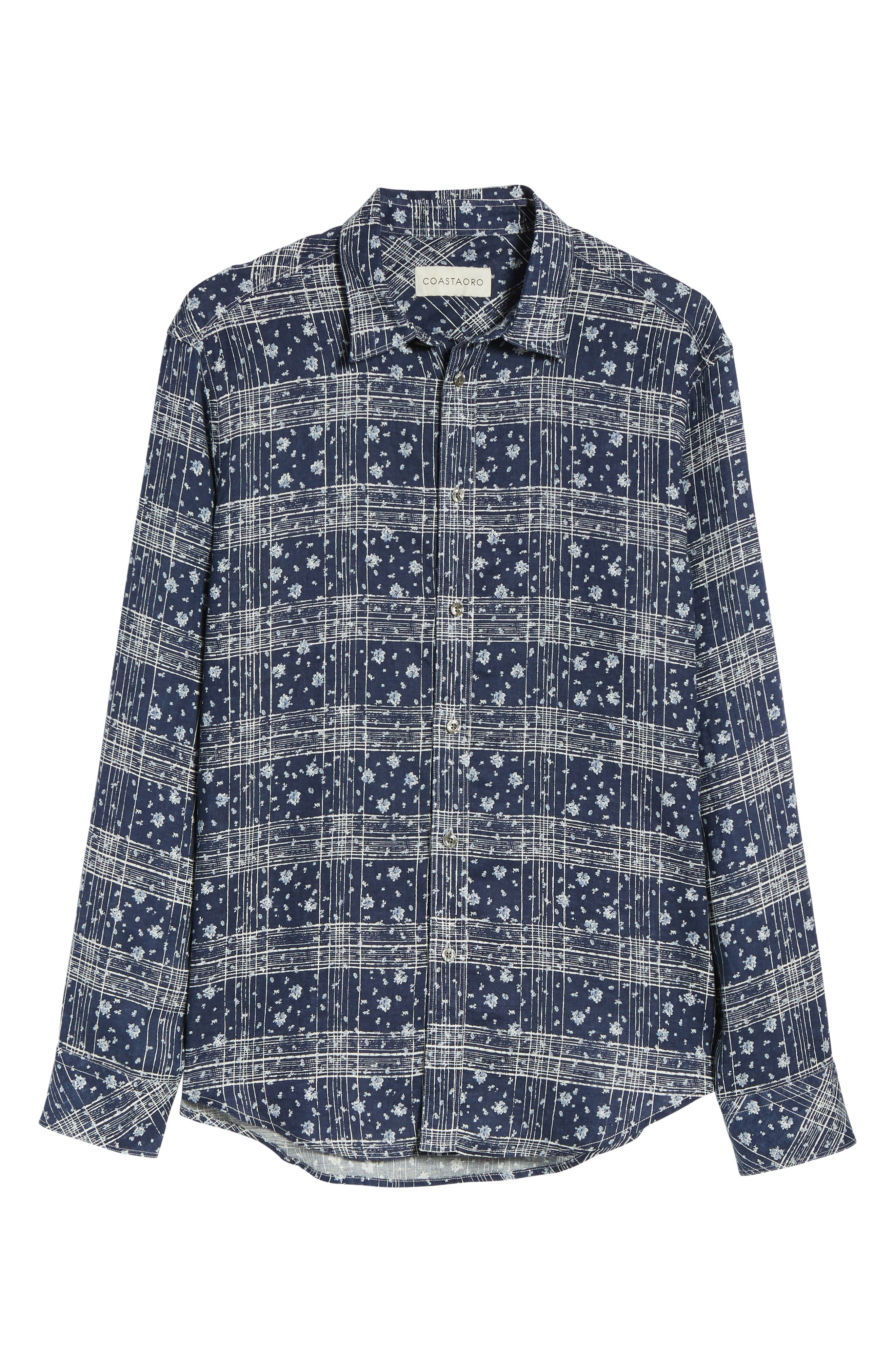 Gustavo Regular Fit Plaid Linen Sport Shirt,                             Alternate thumbnail 6, color,                             Ocean
