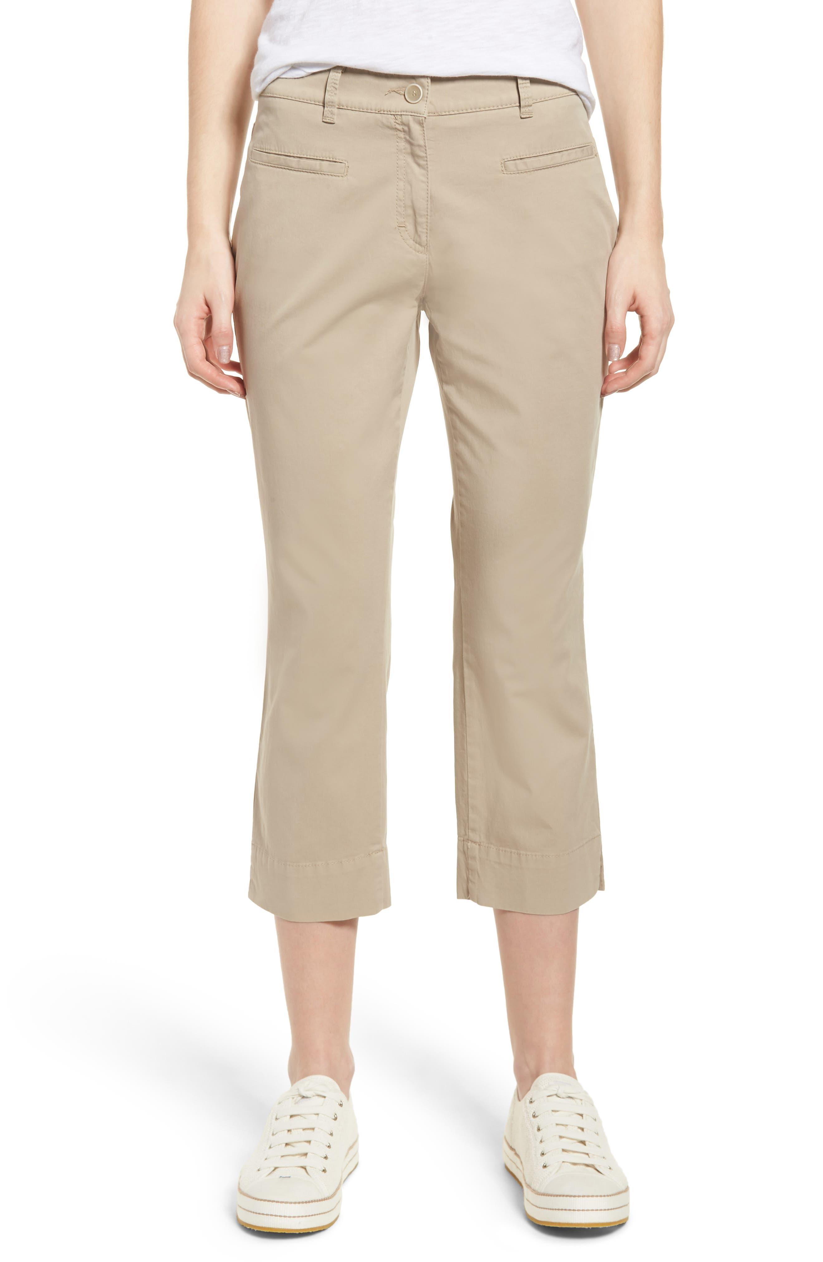 Sunny Stretch Cotton Slit Hem Pants,                             Main thumbnail 1, color,                             Almond