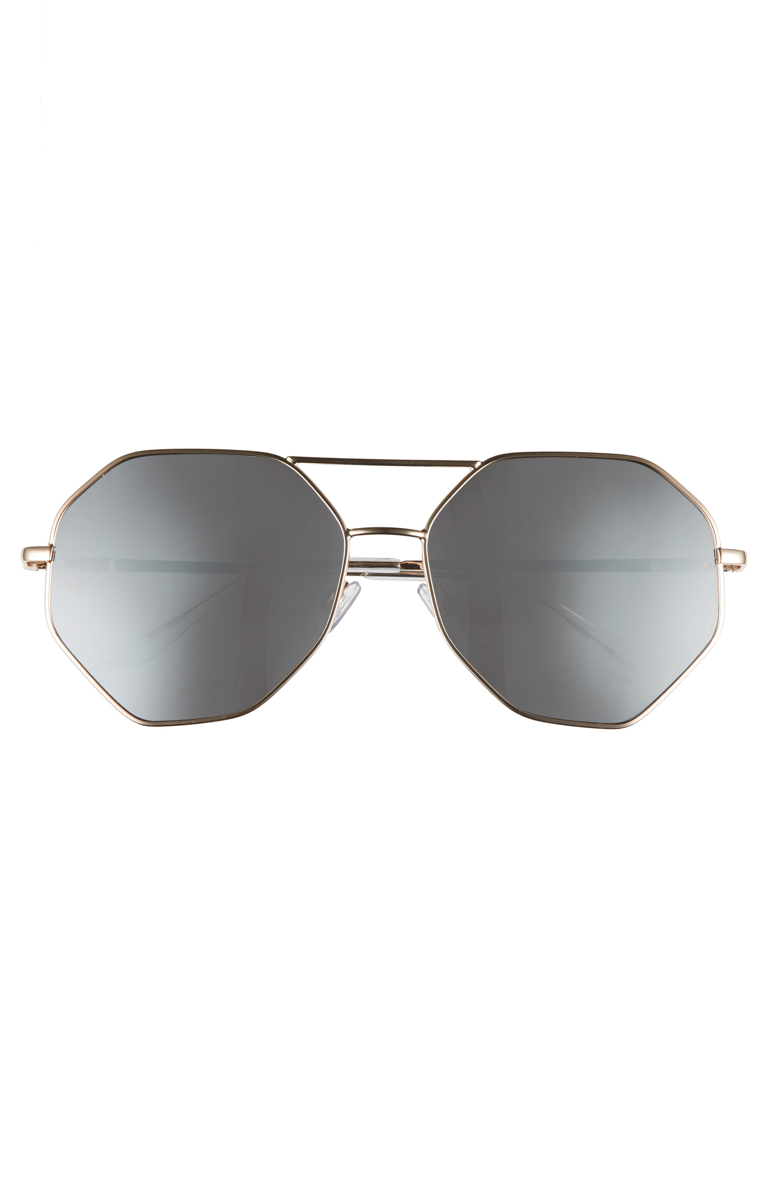 Hexcon Aviator Sunglasses,                             Alternate thumbnail 3, color,                             Shiny Gold/ Silver