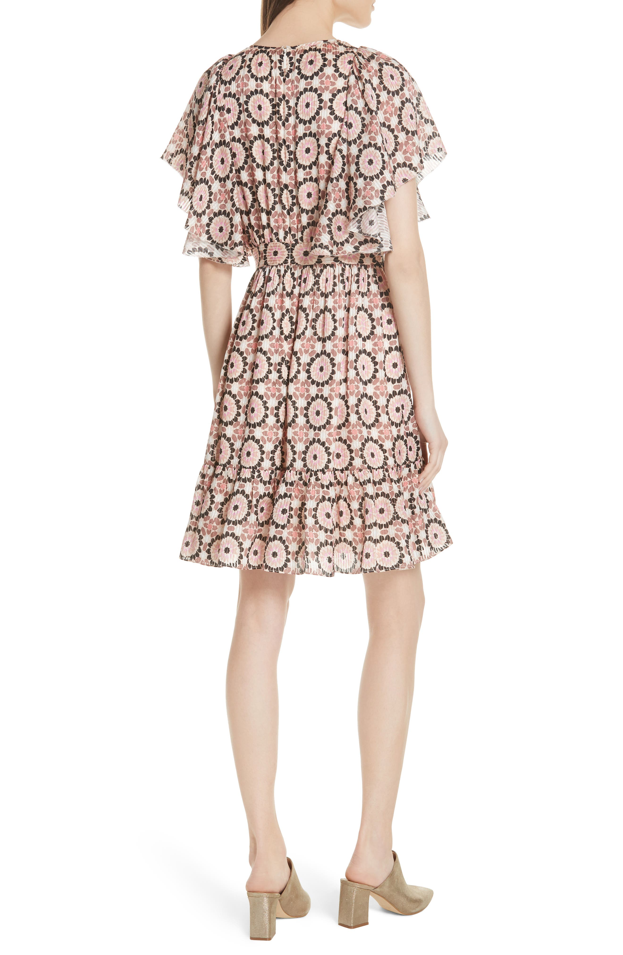 floral mosaic flutter dress,                             Alternate thumbnail 2, color,                             Pearl Pink Multi