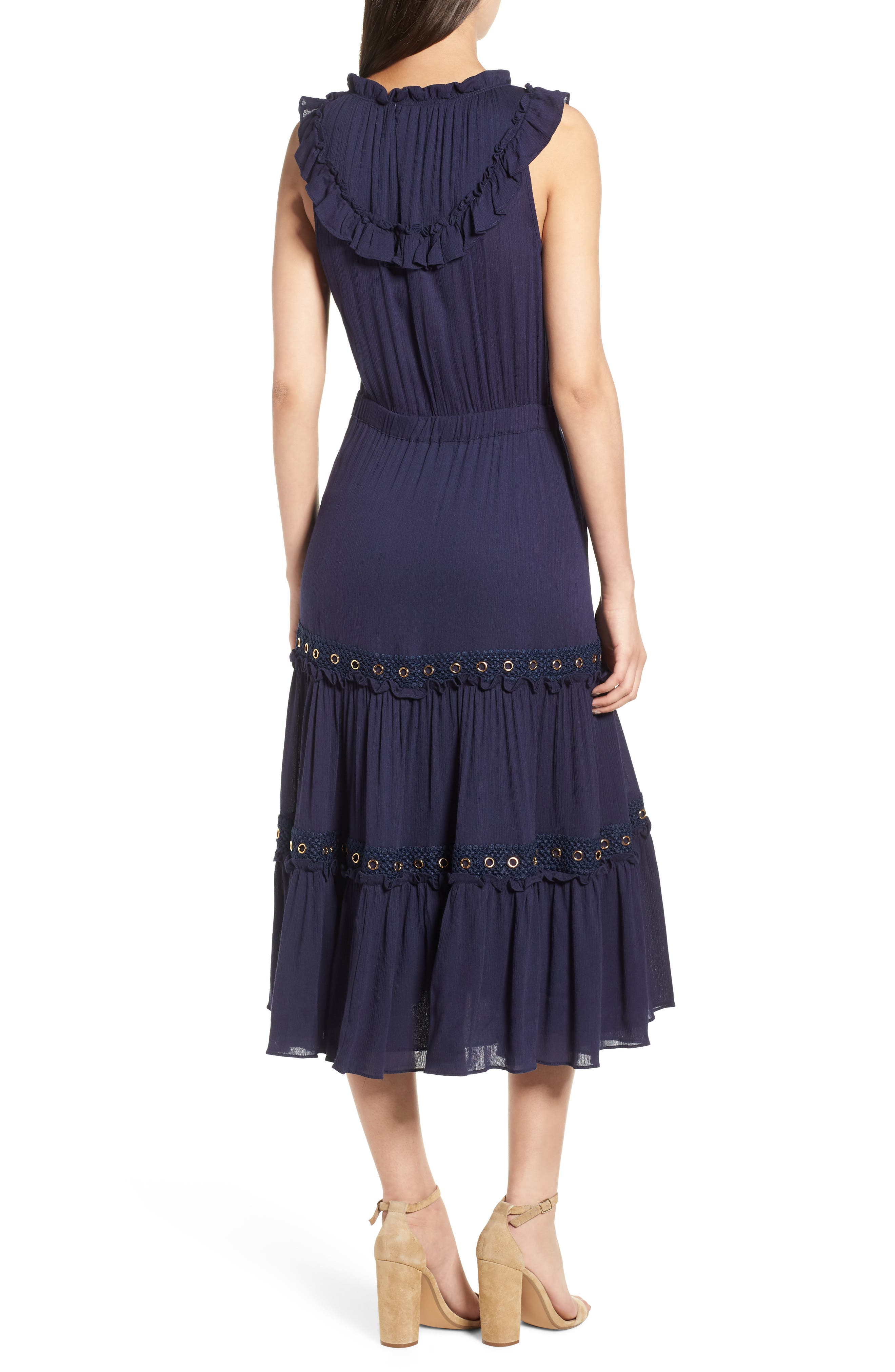 Gabriella Tie Waist Midi Dress,                             Alternate thumbnail 2, color,                             Azure