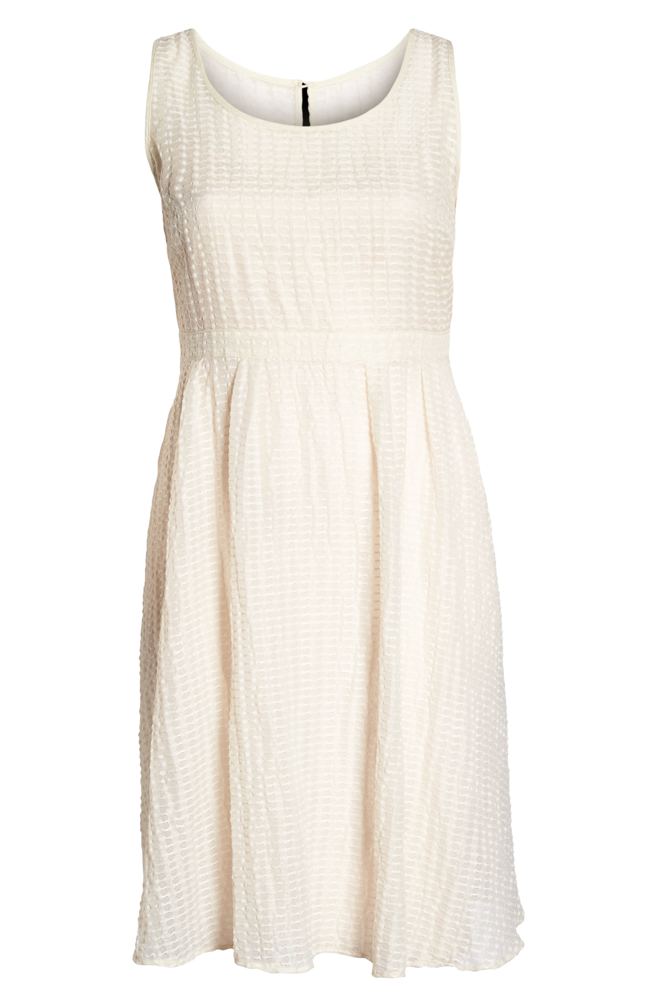The Evelyn Textured Midi Dress,                             Alternate thumbnail 5, color,                             Cream
