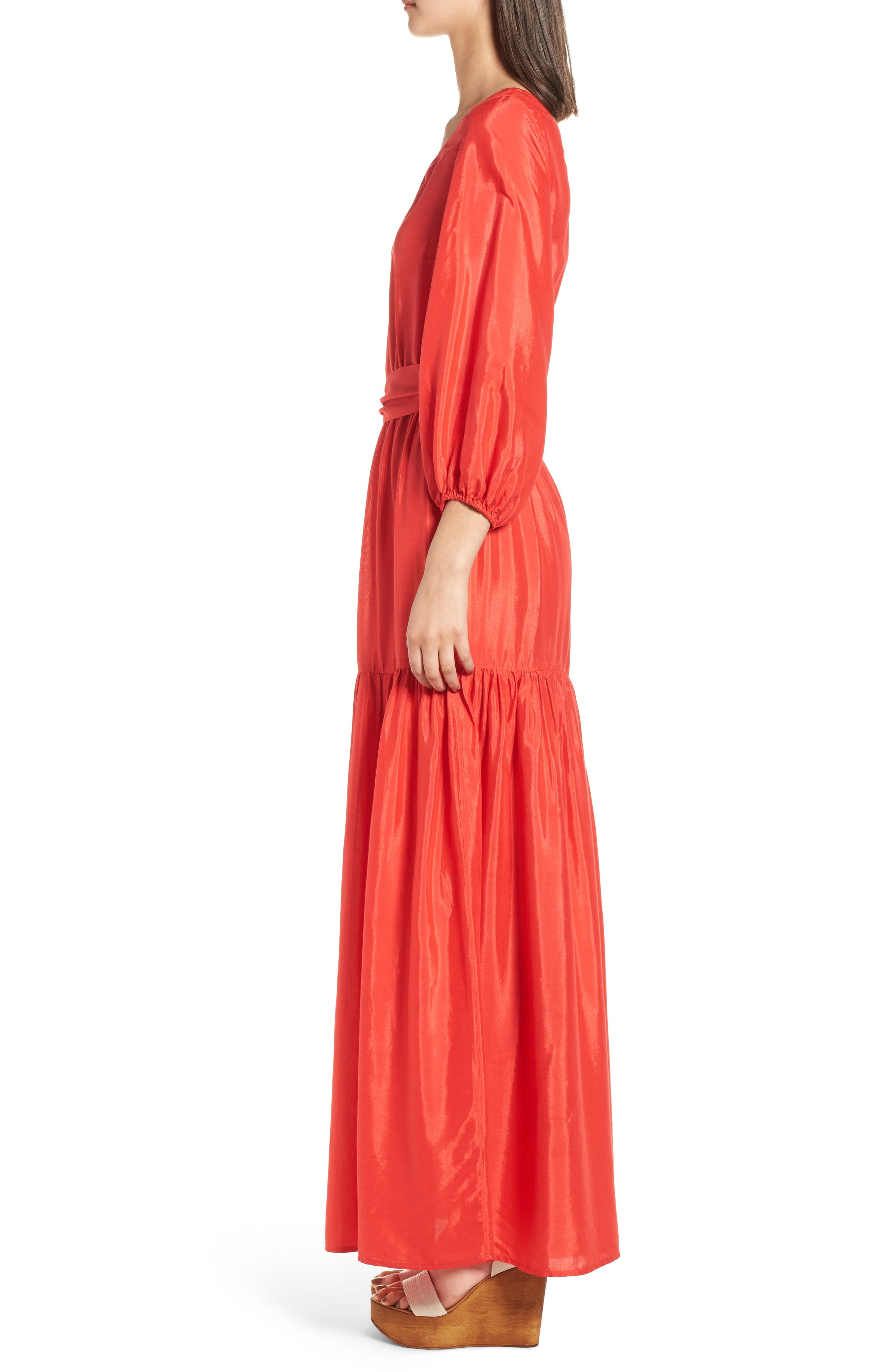 One-Shoulder Maxi Dress,                             Alternate thumbnail 3, color,                             Bright Red